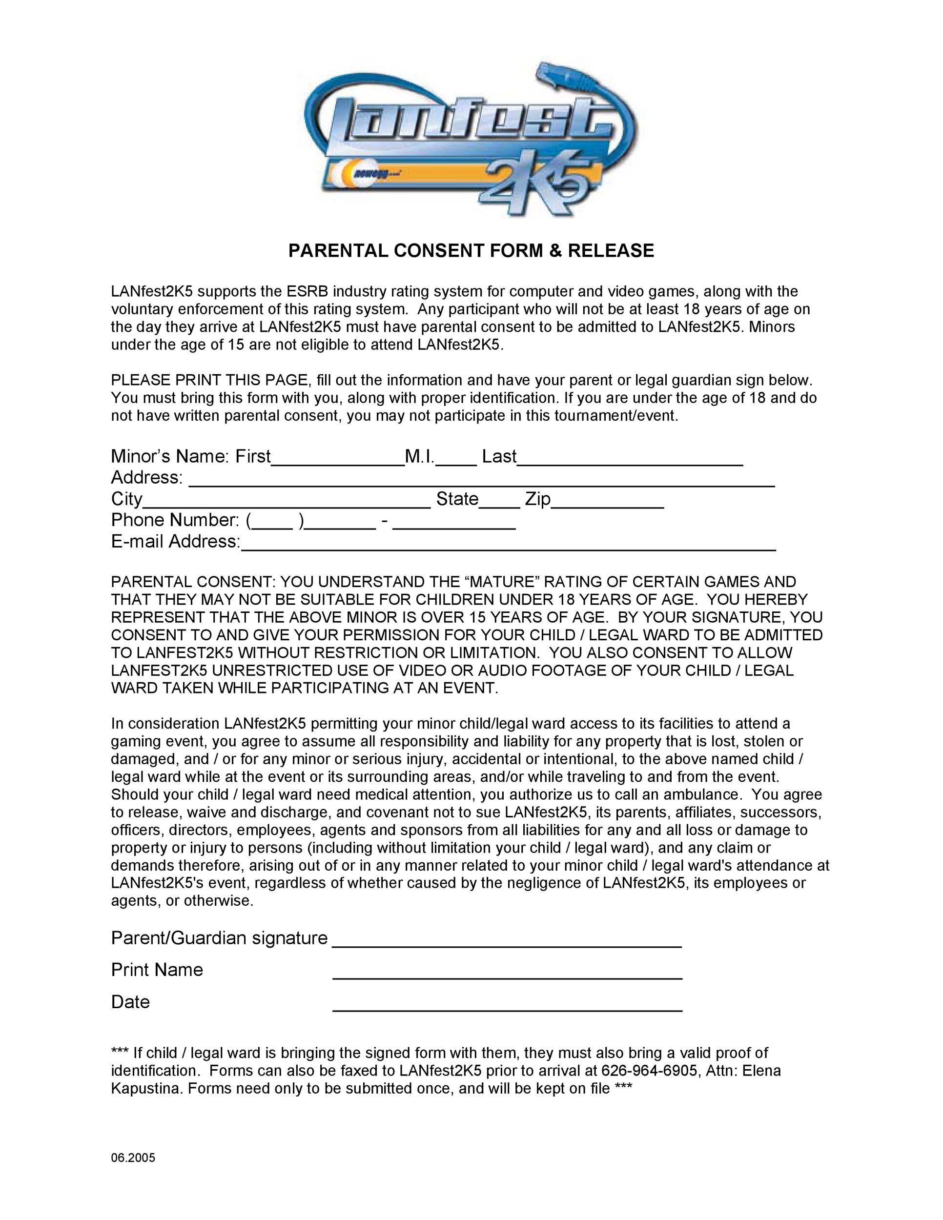 Free parental consent form template 16