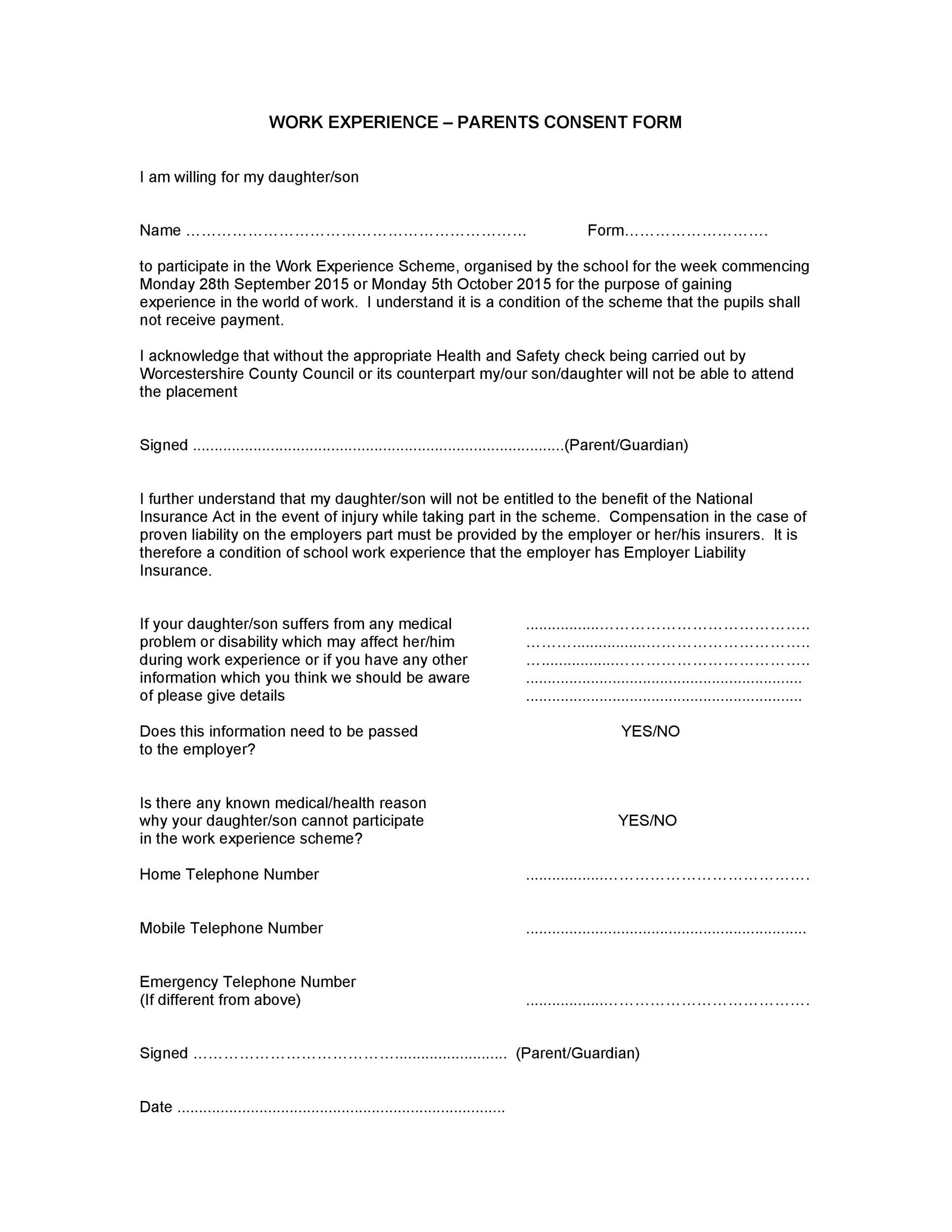 Free parental consent form template 18