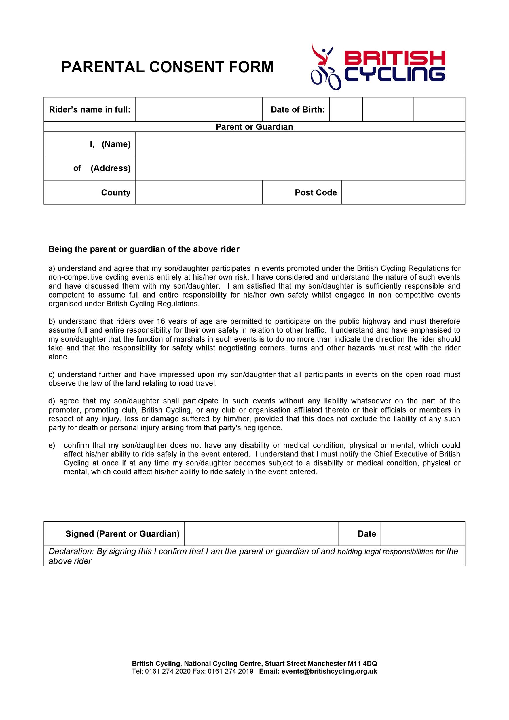 Free parental consent form template 25