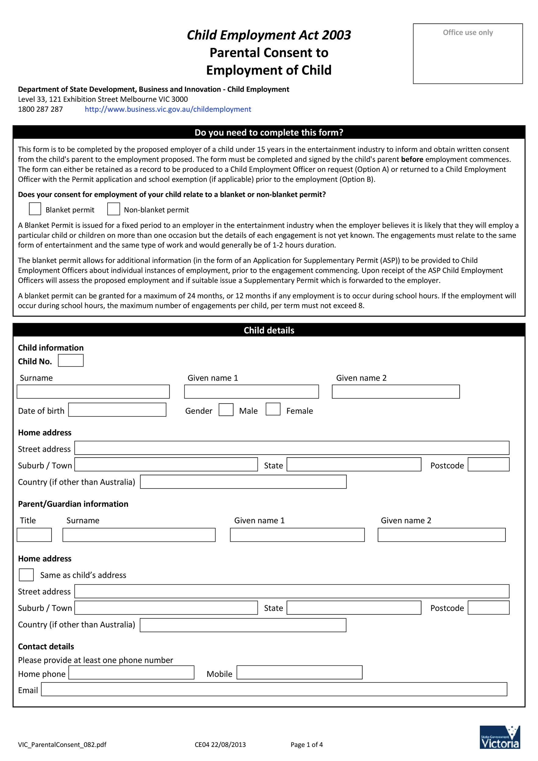 Free parental consent form template 26