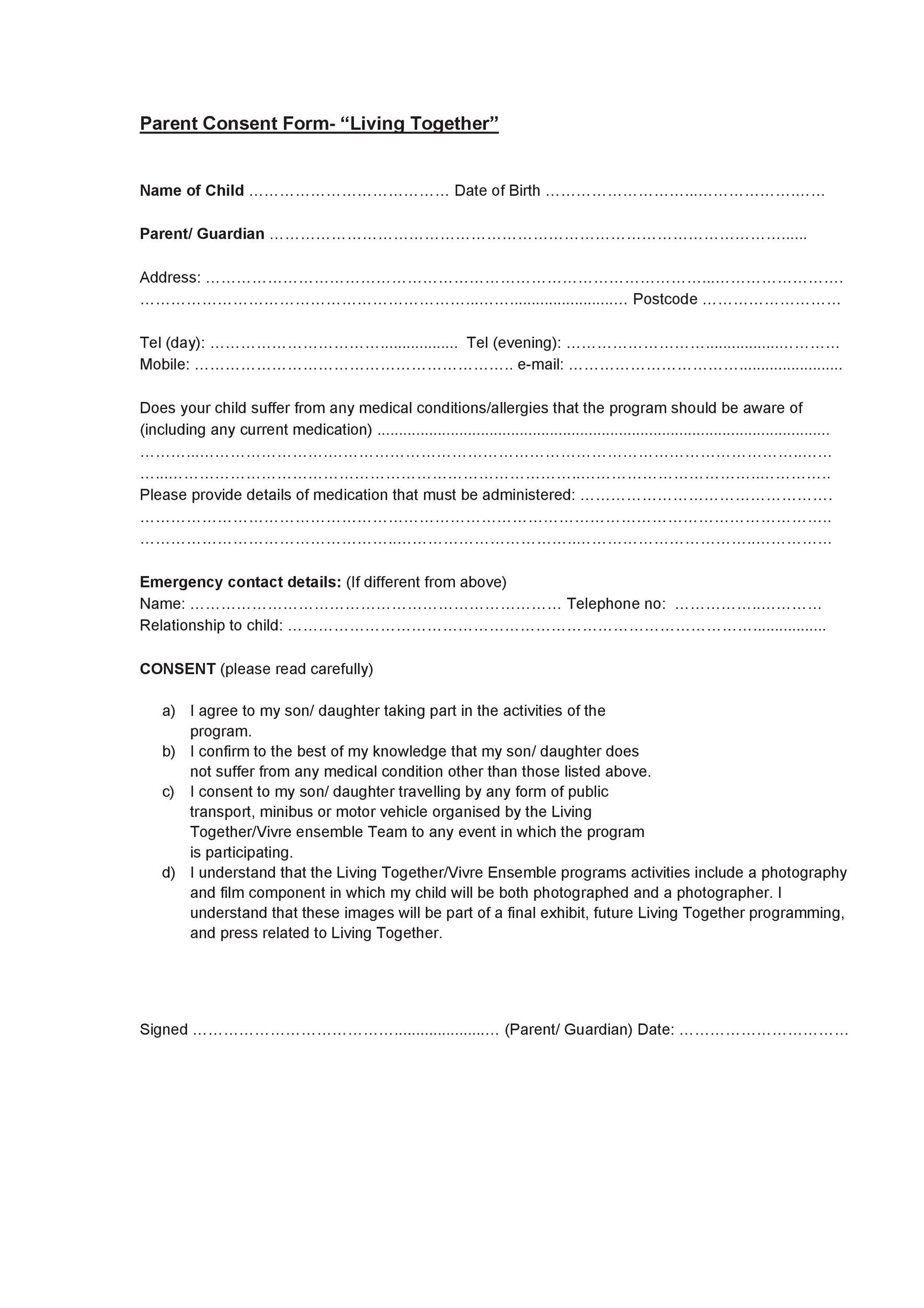 Free parental consent form template 29