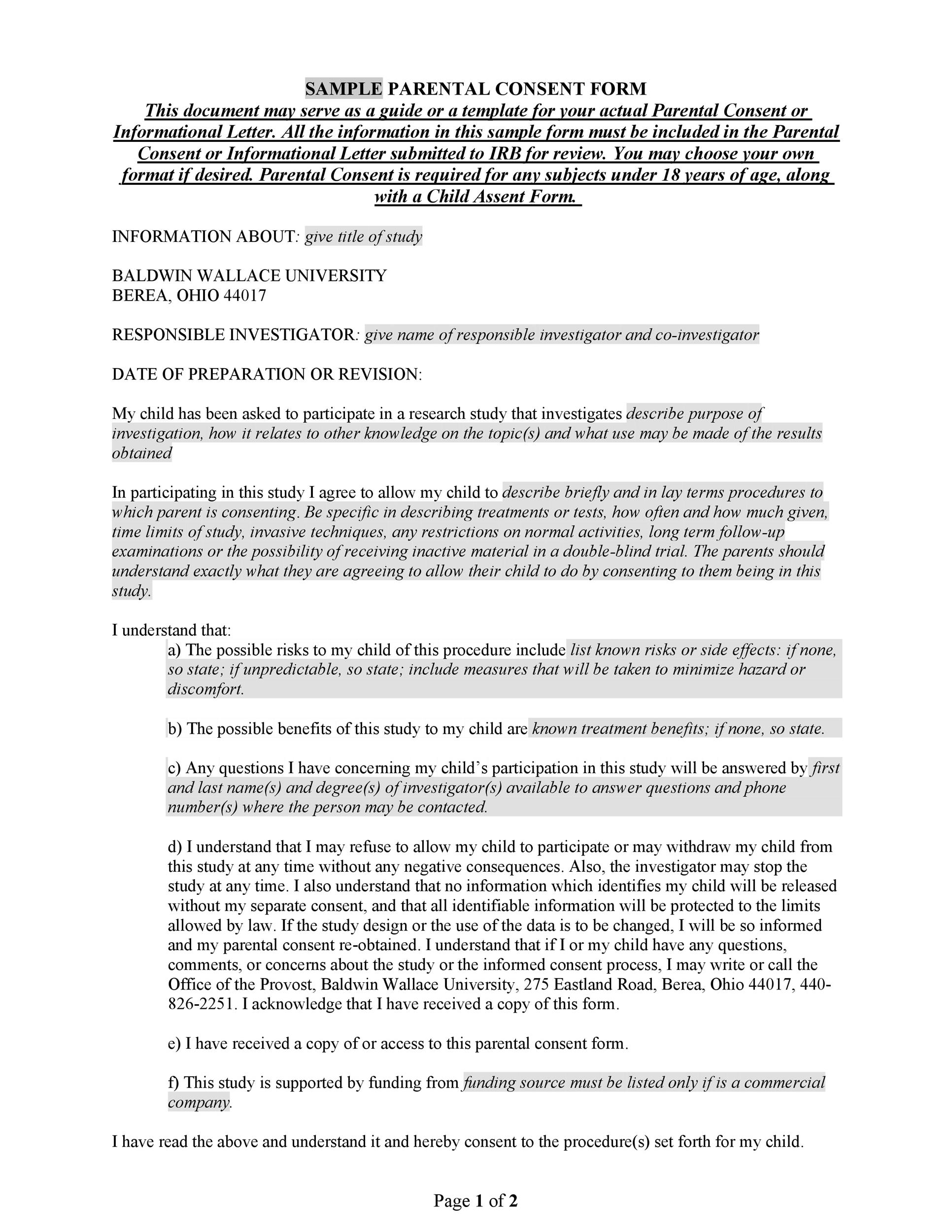 Free parental consent form template 31