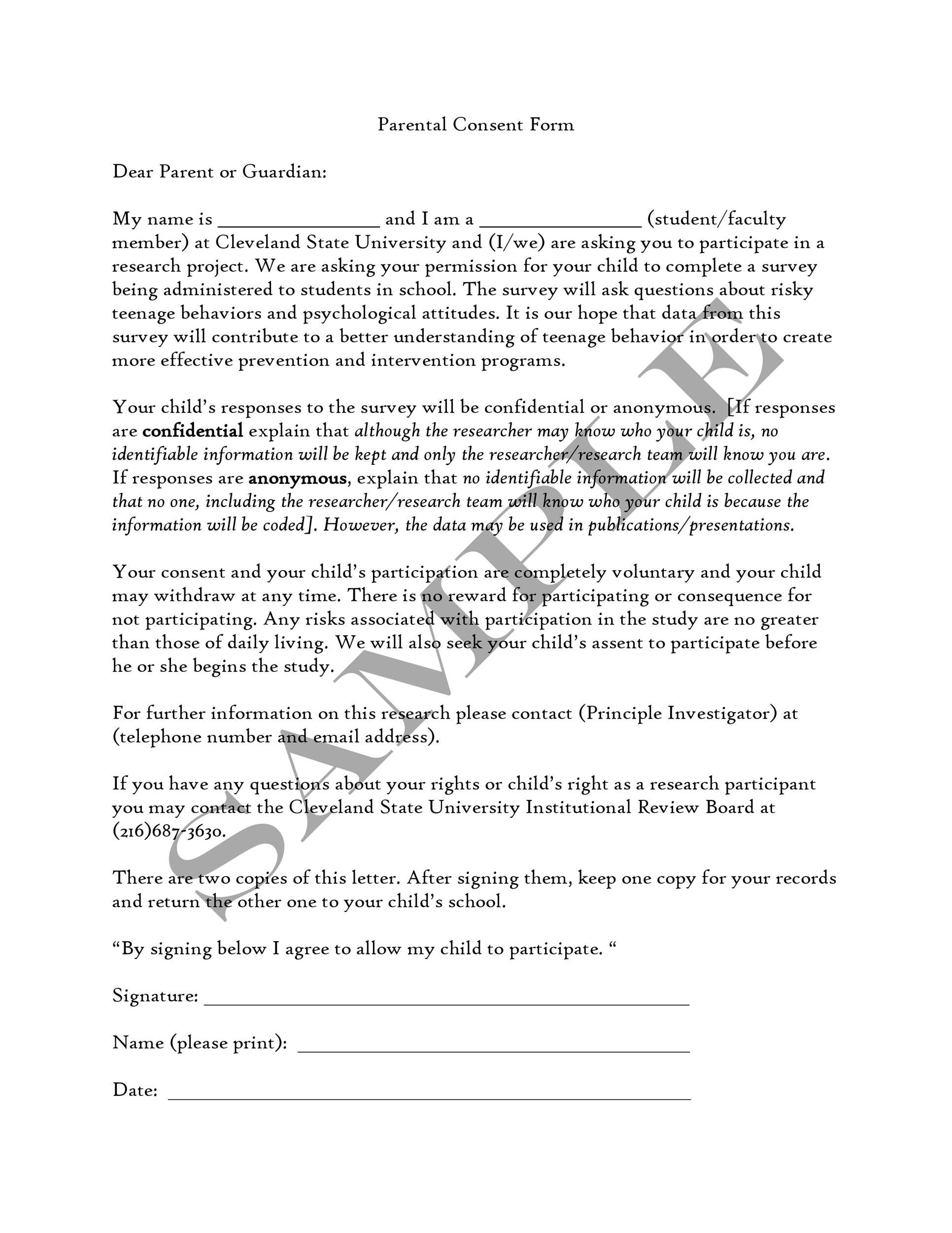 Free parental consent form template 32