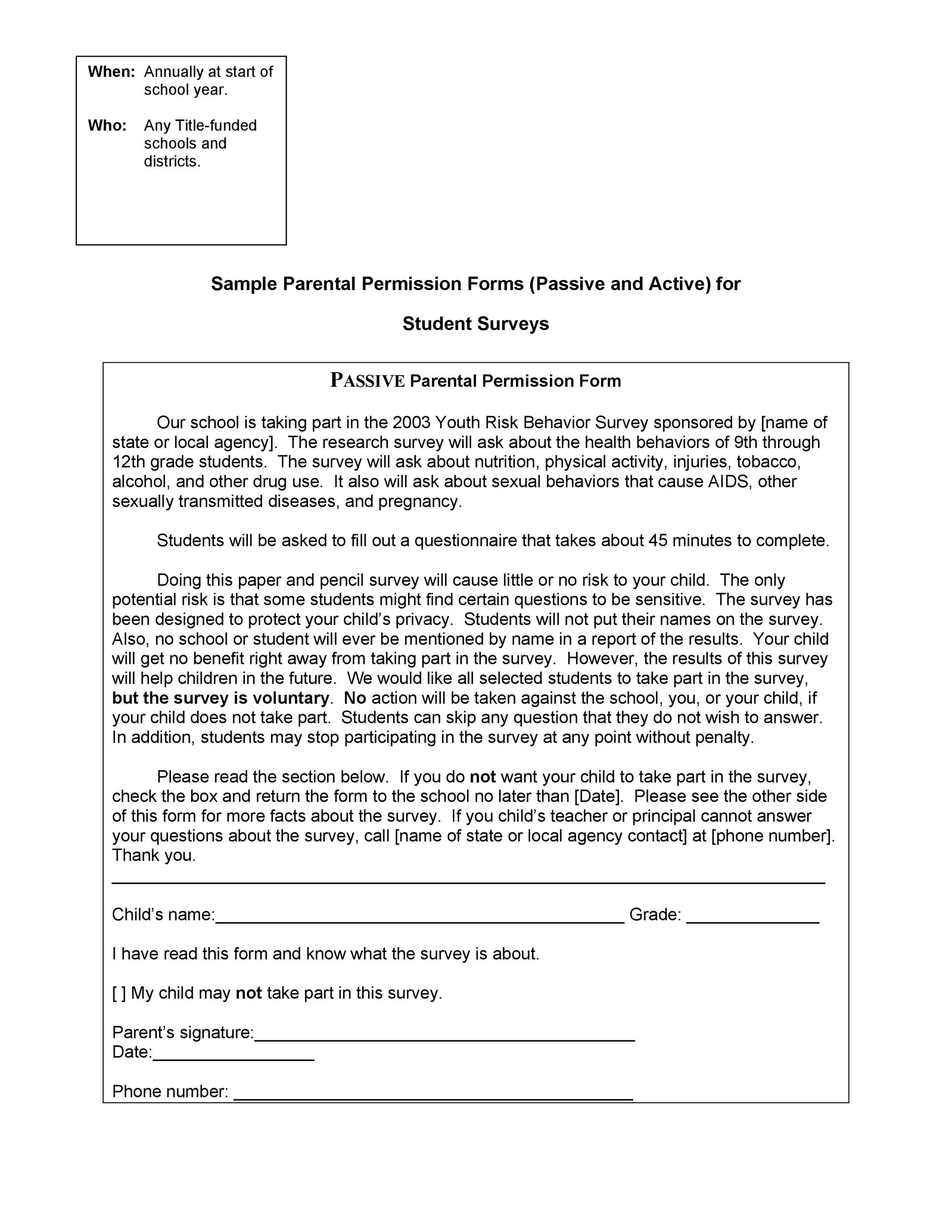 Free parental consent form template 34