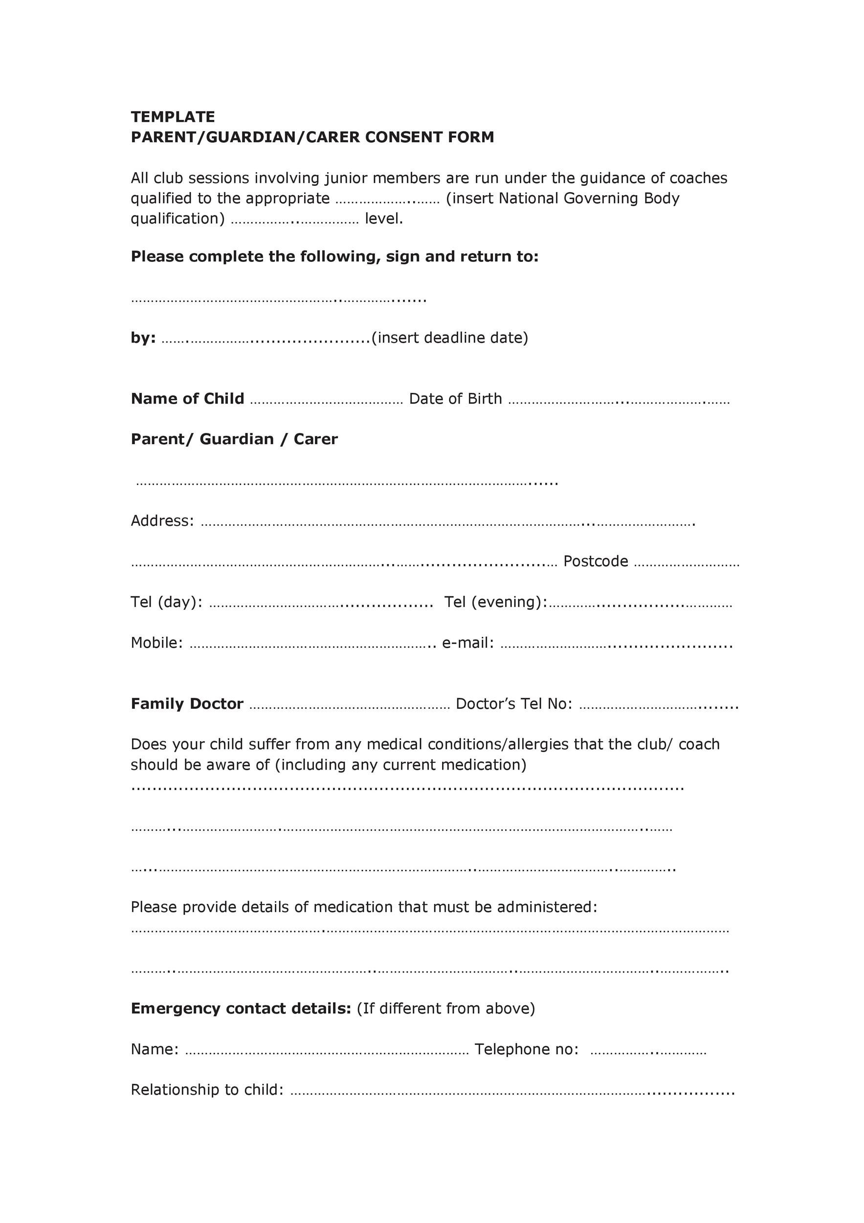 Free parental consent form template 38
