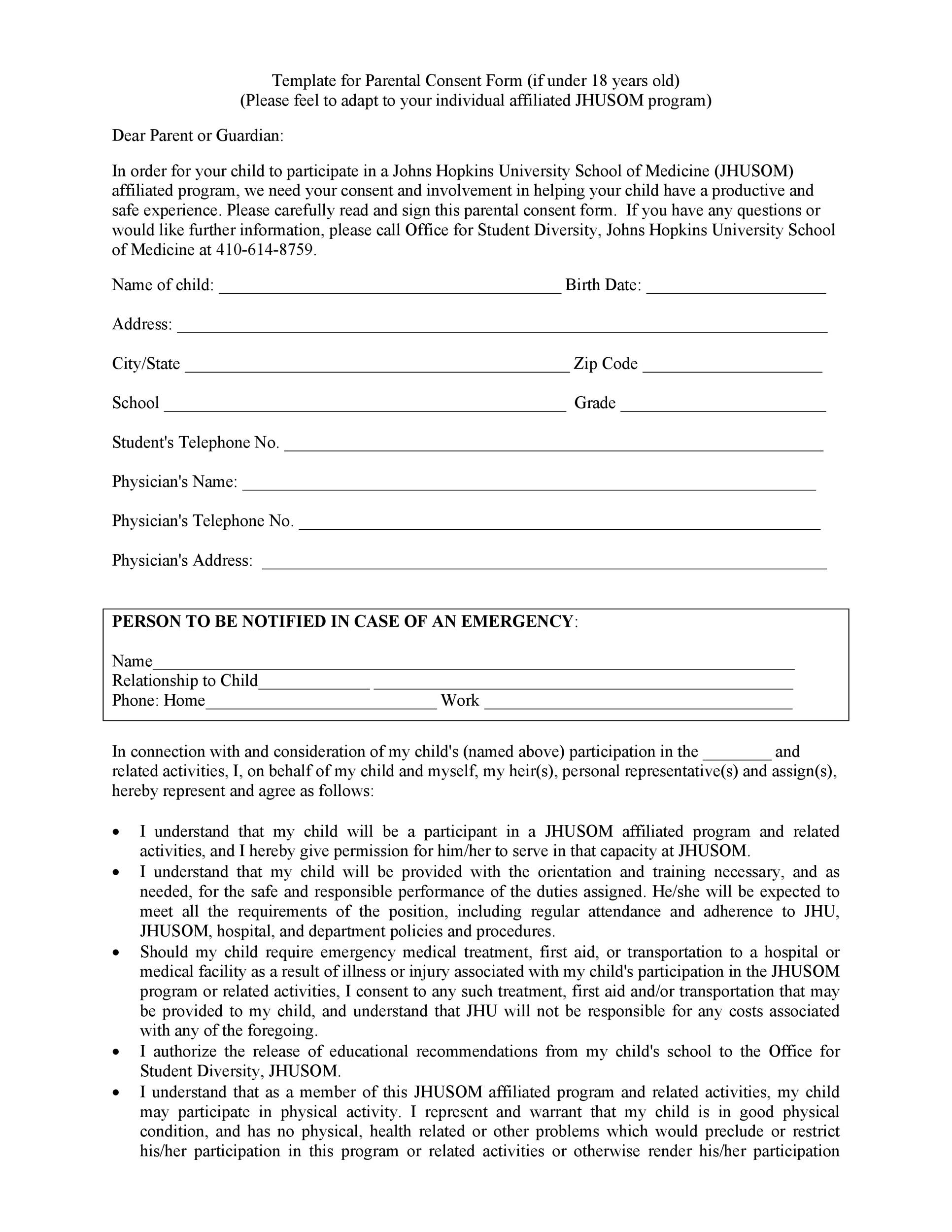 Free parental consent form template 39