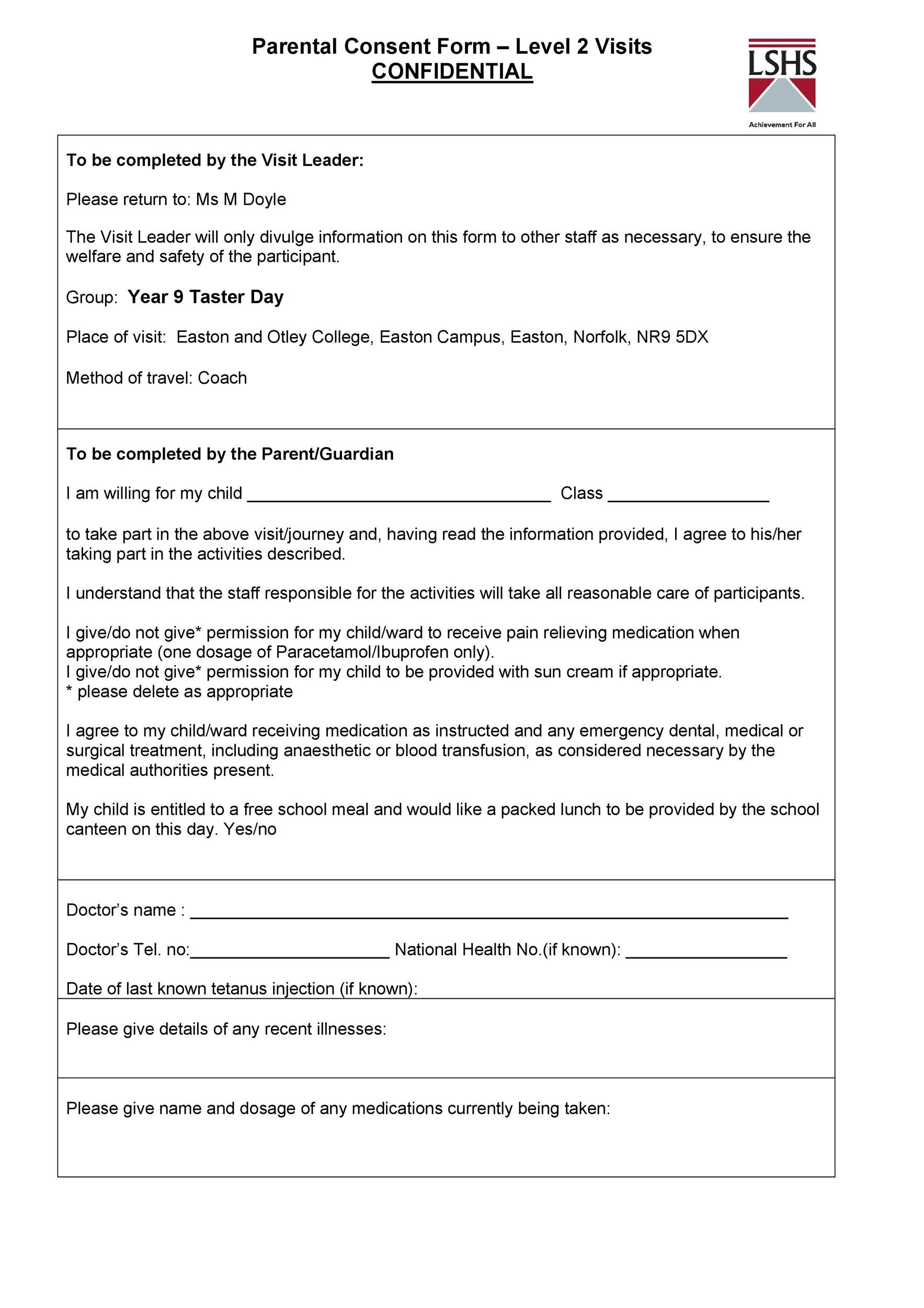 Free parental consent form template 43