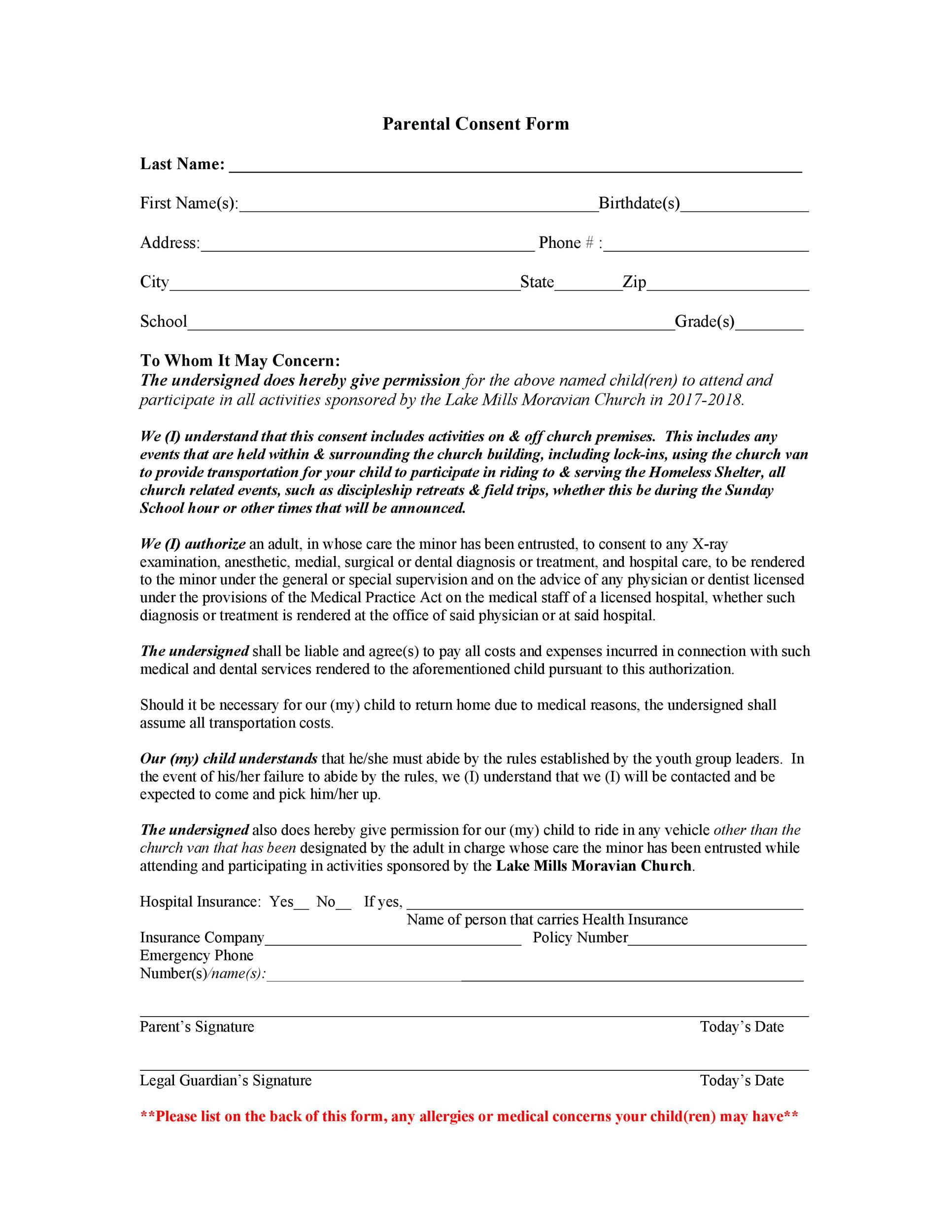 Free parental consent form template 44