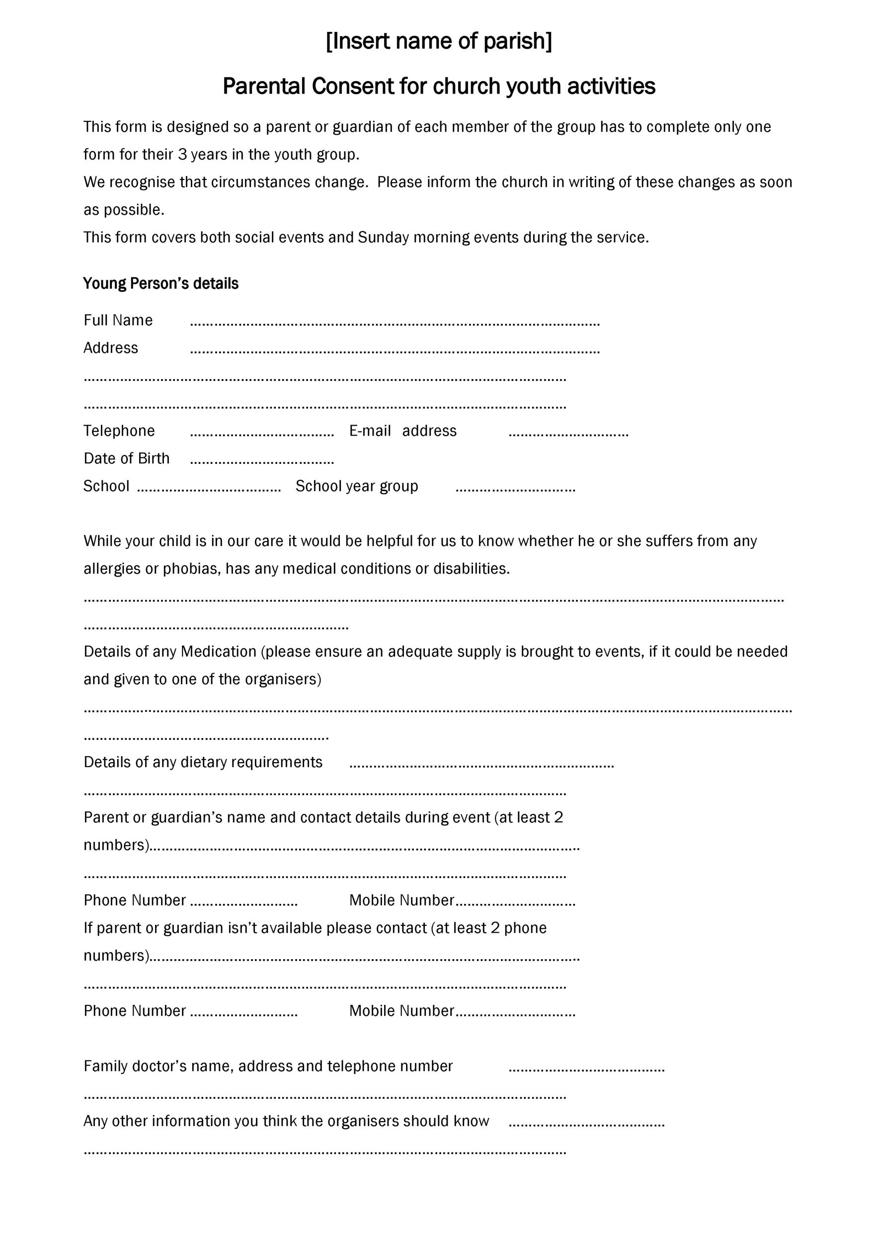 Free parental consent form template 50