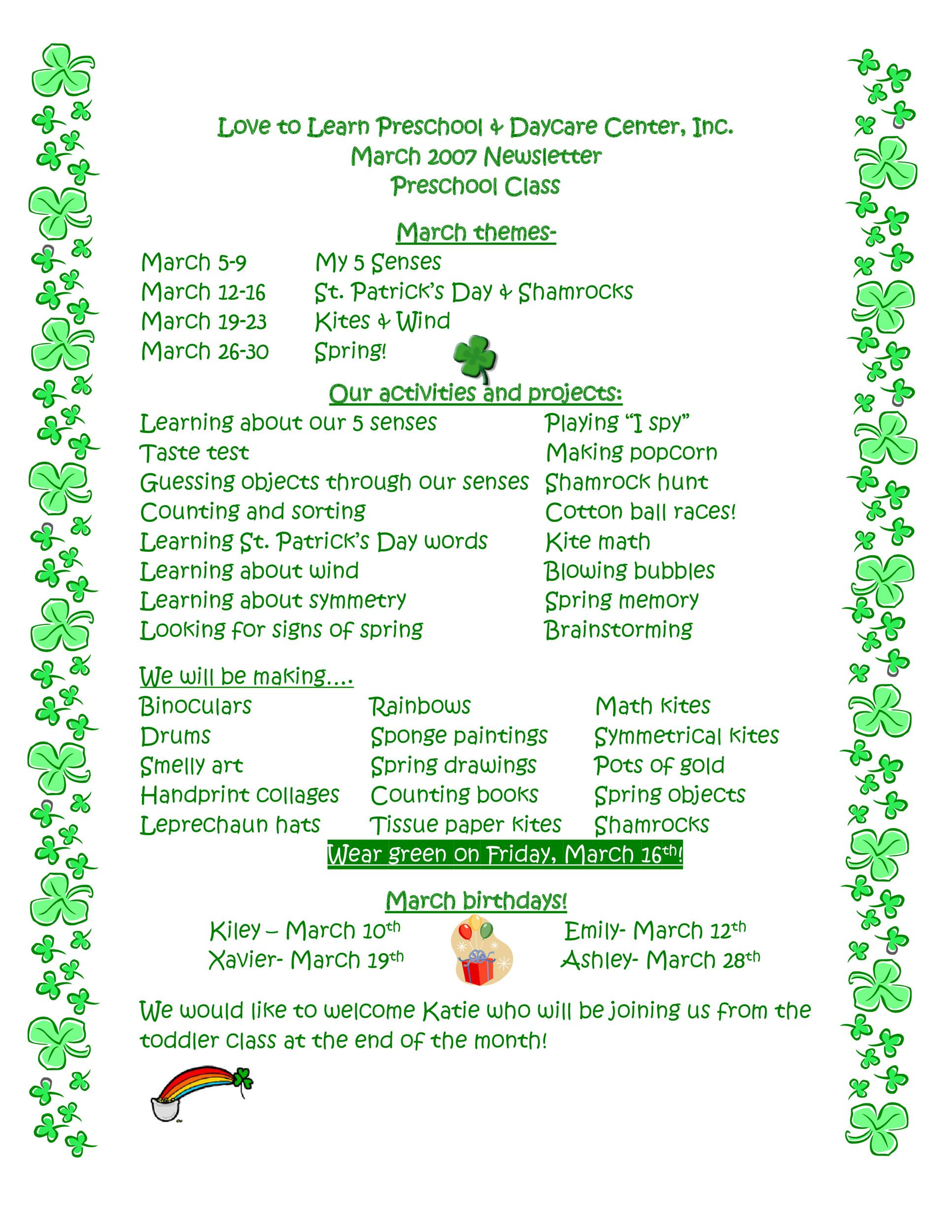 Free preschool newsletter template 01