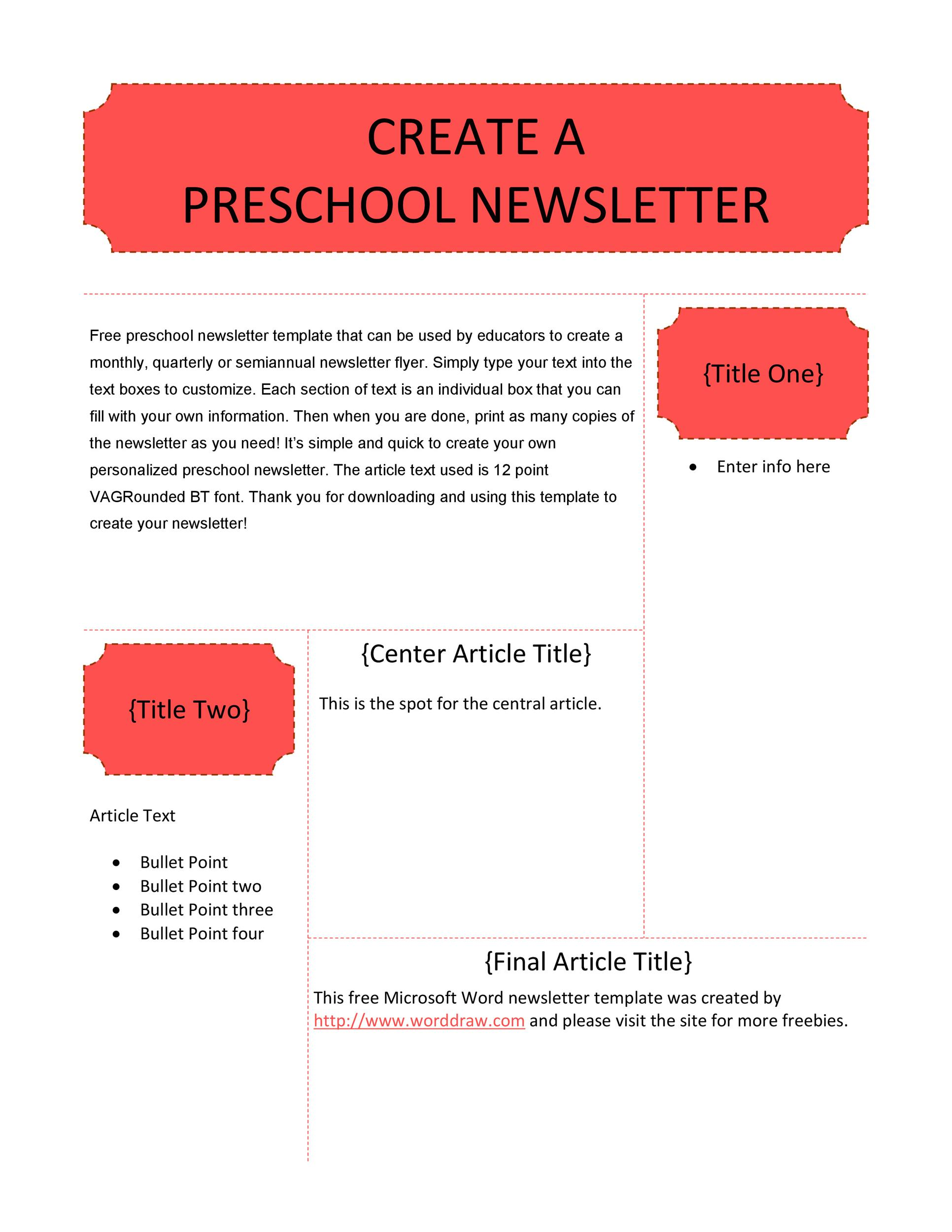 Free preschool newsletter template 08