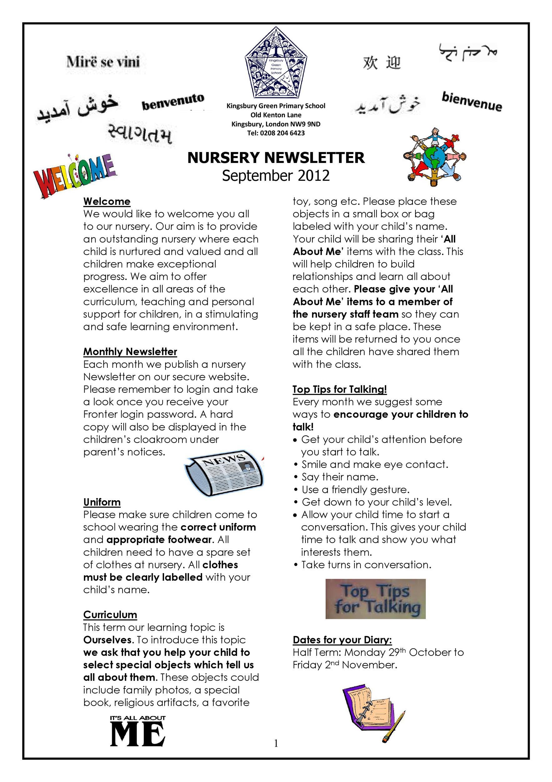 Free preschool newsletter template 10