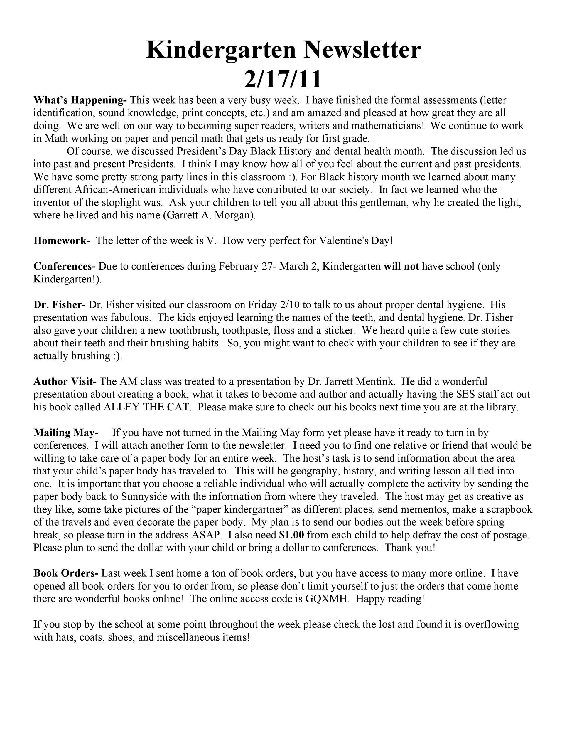 Free preschool newsletter template 11
