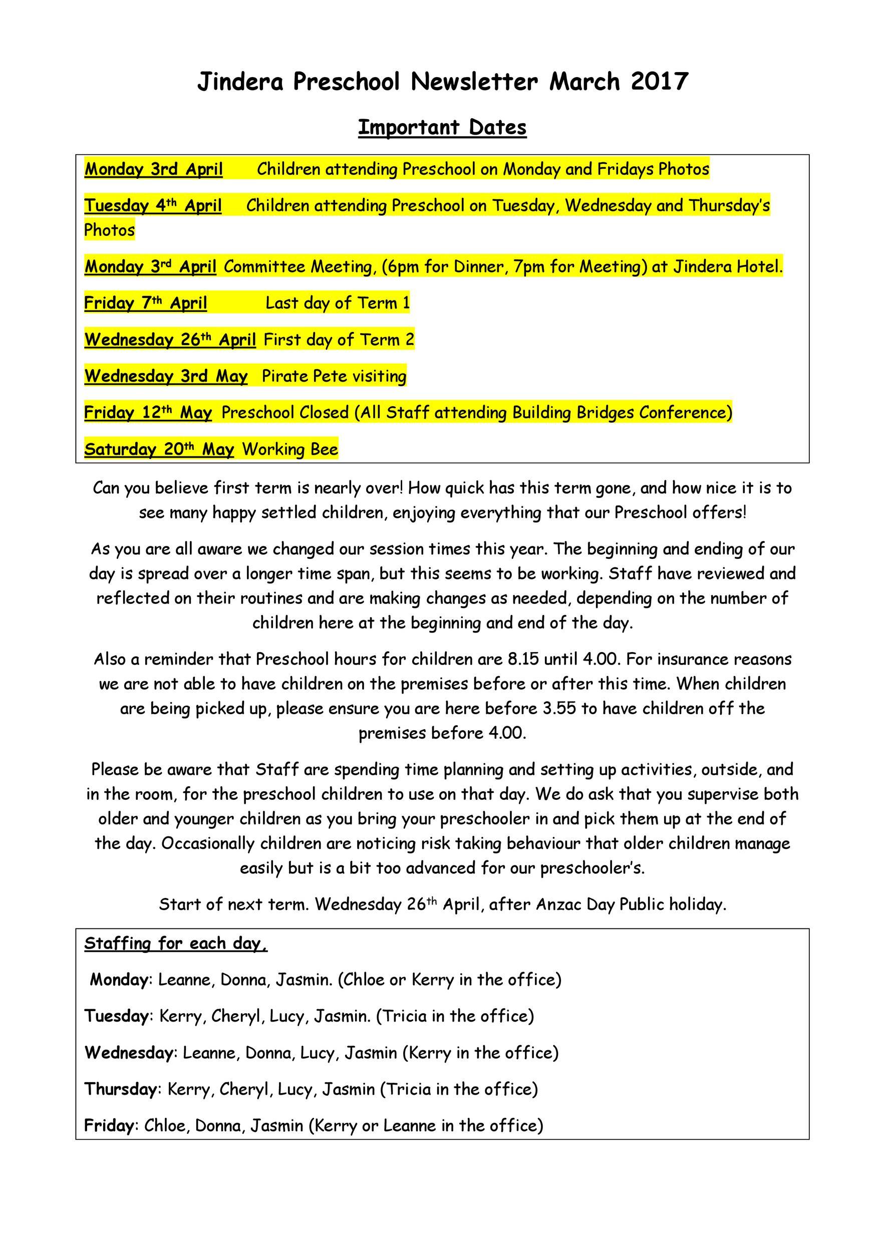 Free preschool newsletter template 12