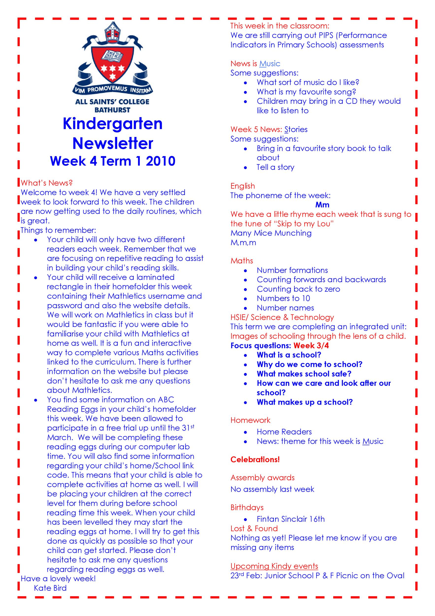 Free preschool newsletter template 15