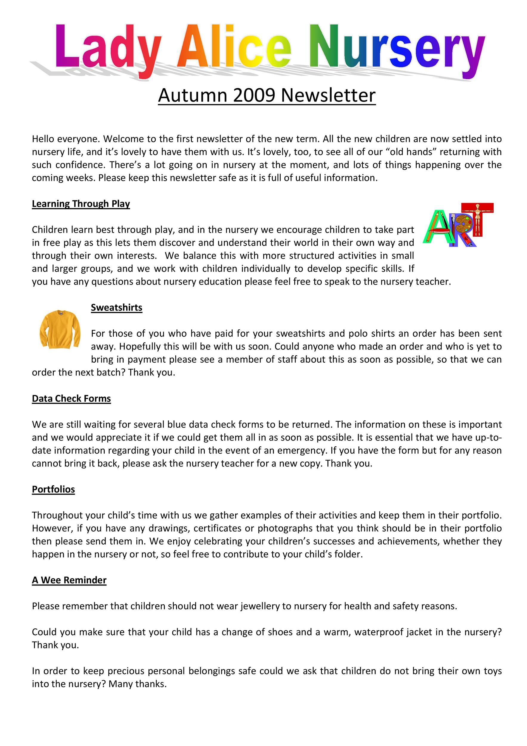 Free preschool newsletter template 18