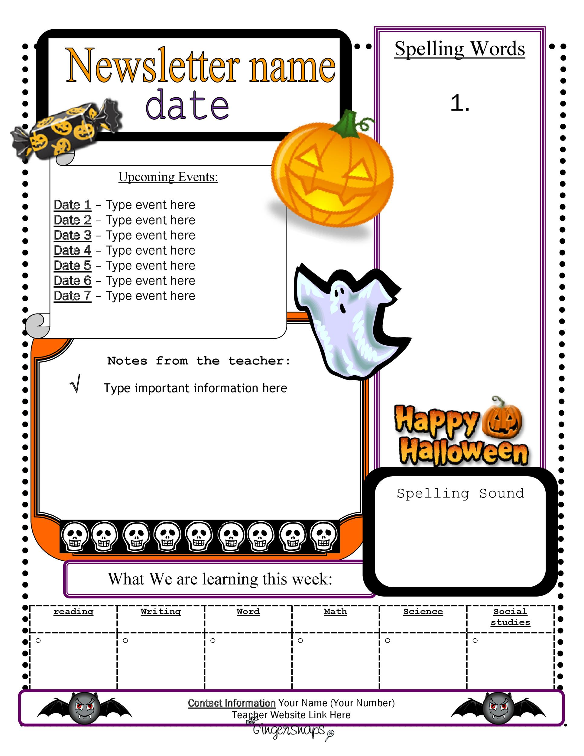 Free preschool newsletter template 20