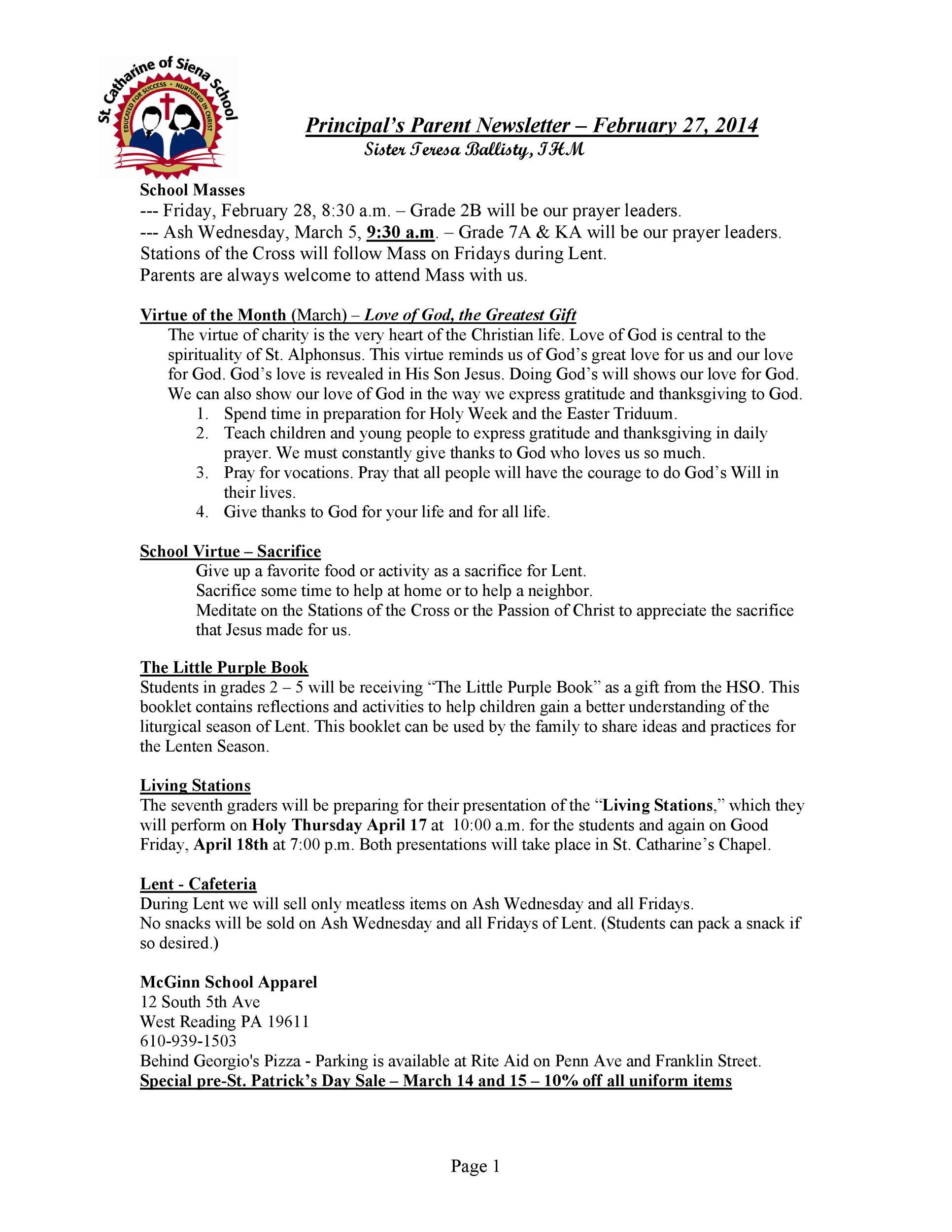 Free preschool newsletter template 21