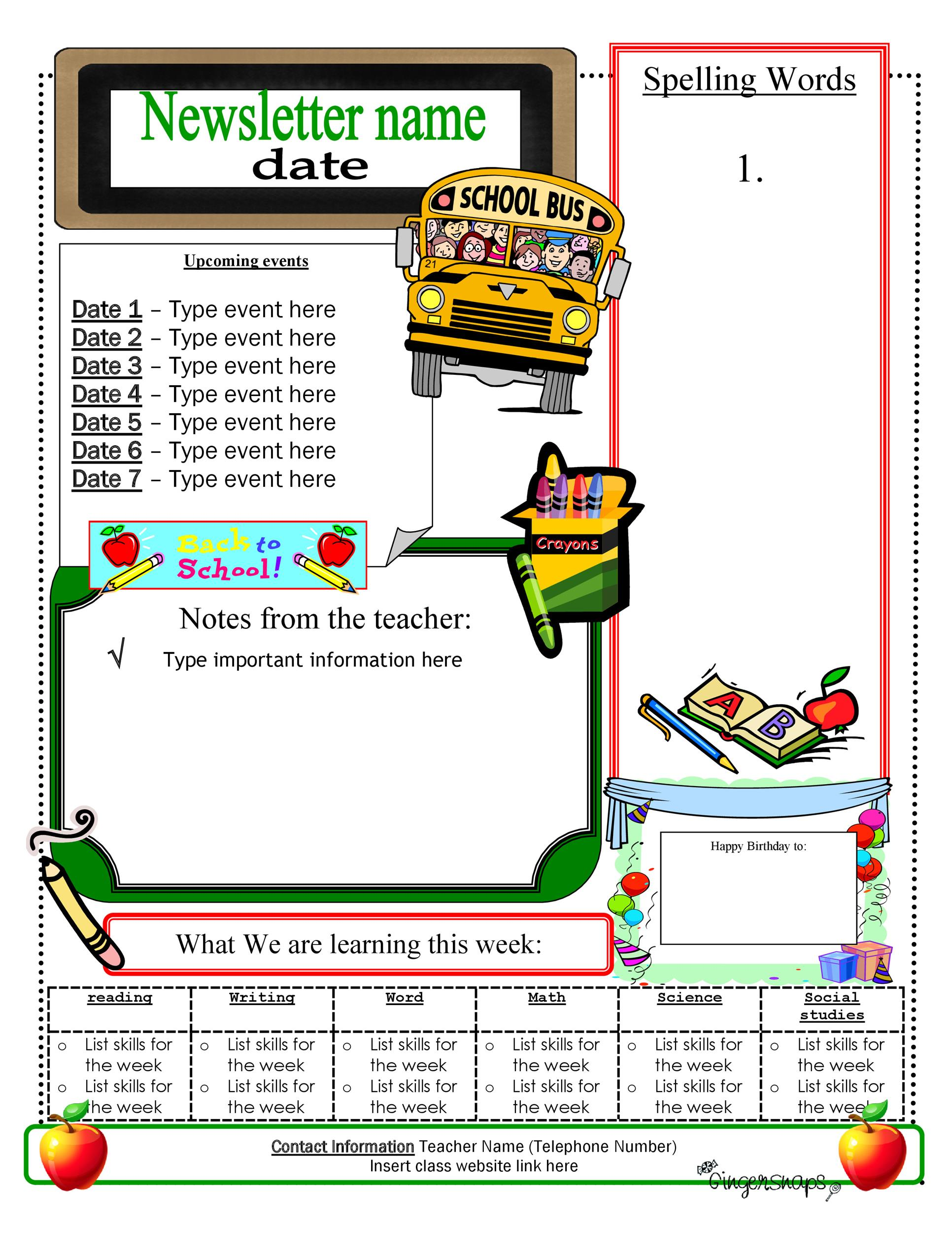 Free preschool newsletter template 22