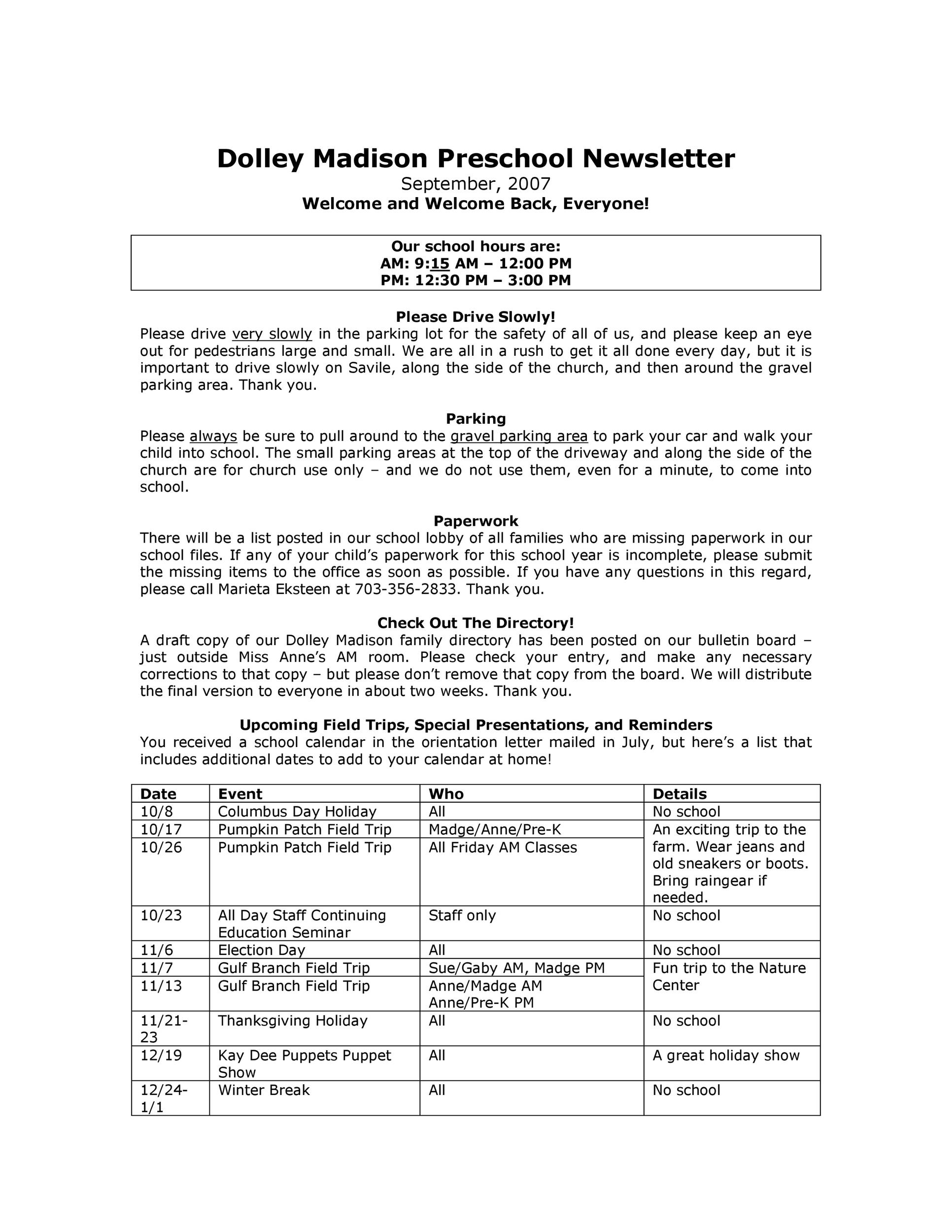 Free preschool newsletter template 25