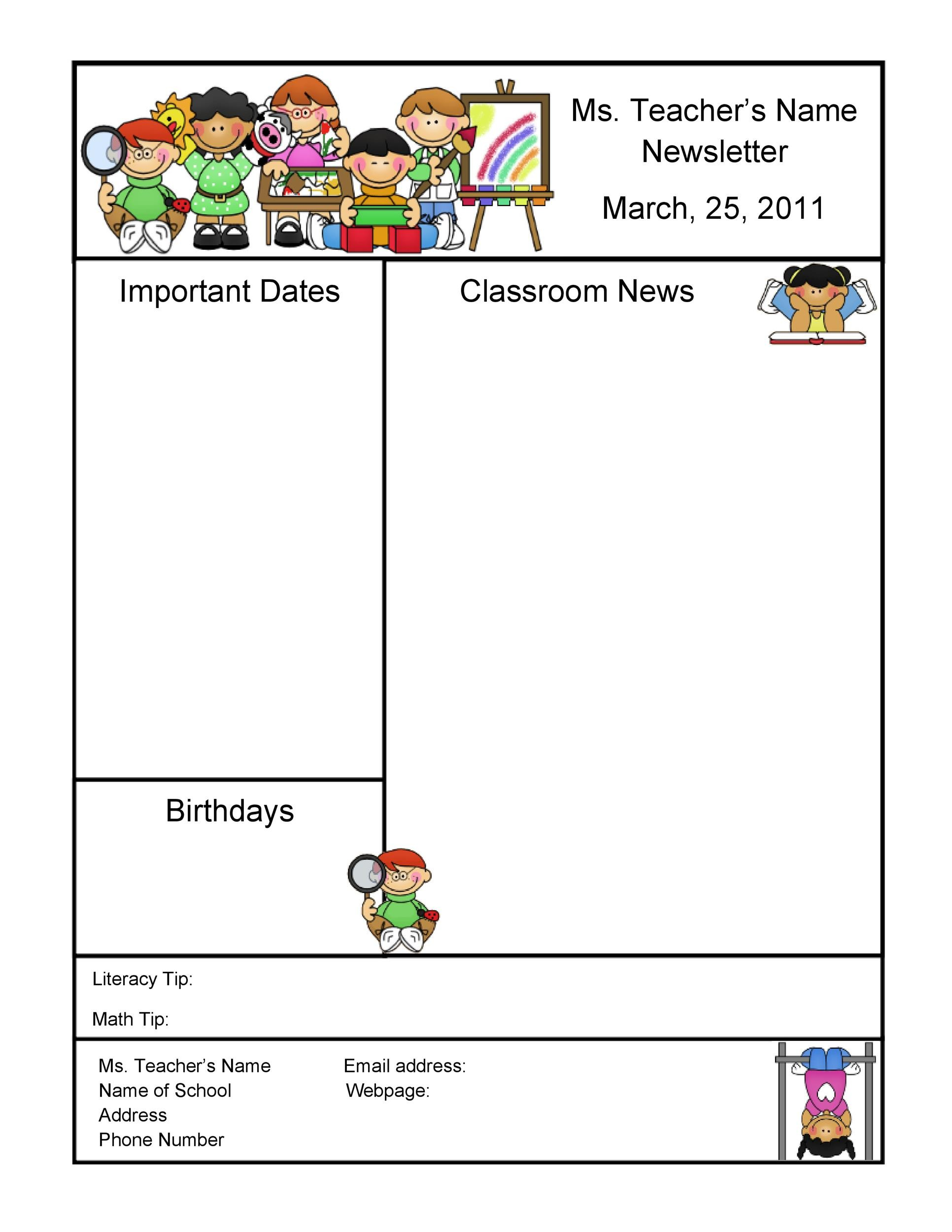 Free preschool newsletter template 37