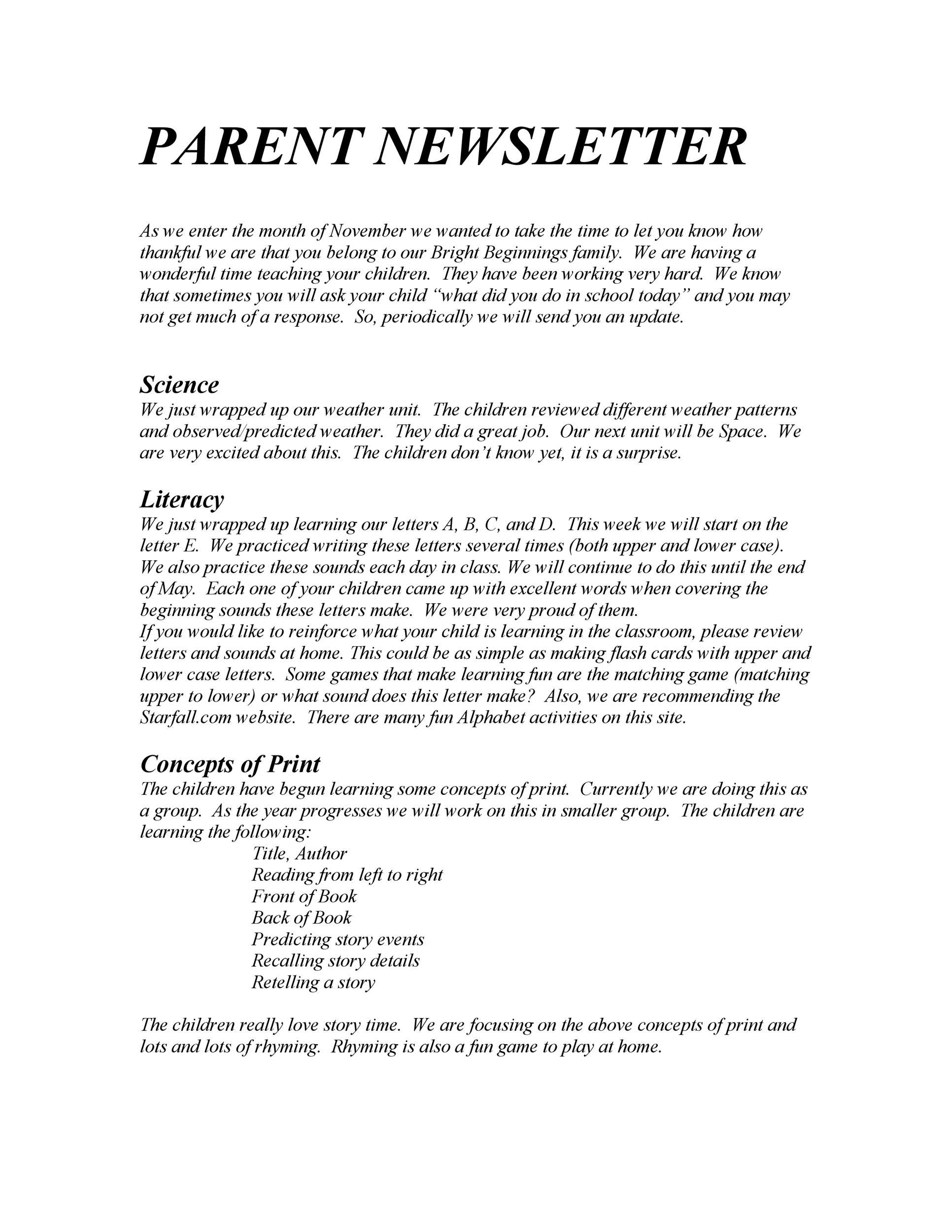 Free preschool newsletter template 39