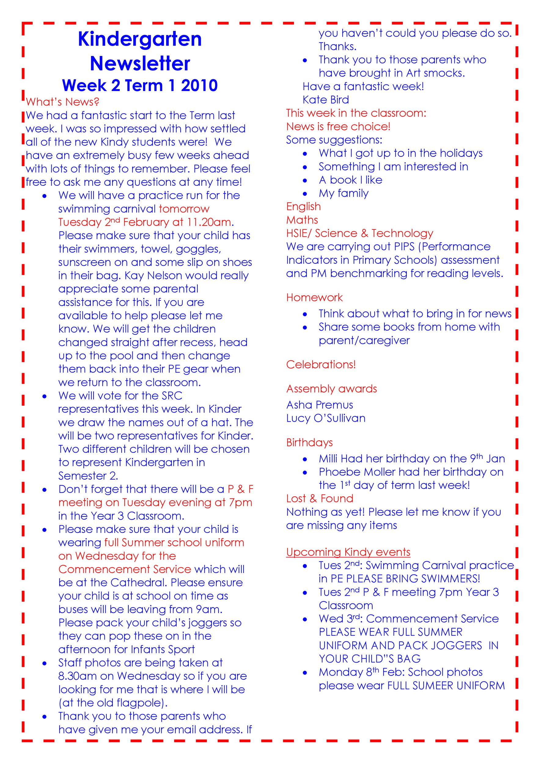Free preschool newsletter template 45