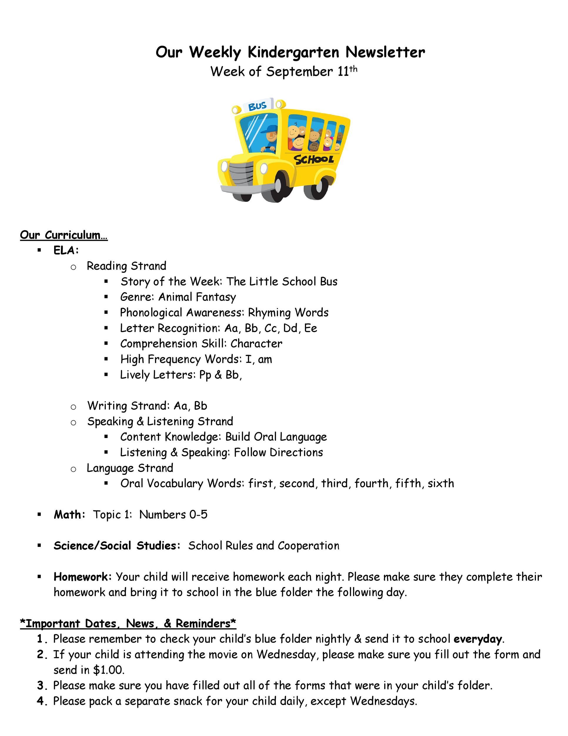 Free preschool newsletter template 46