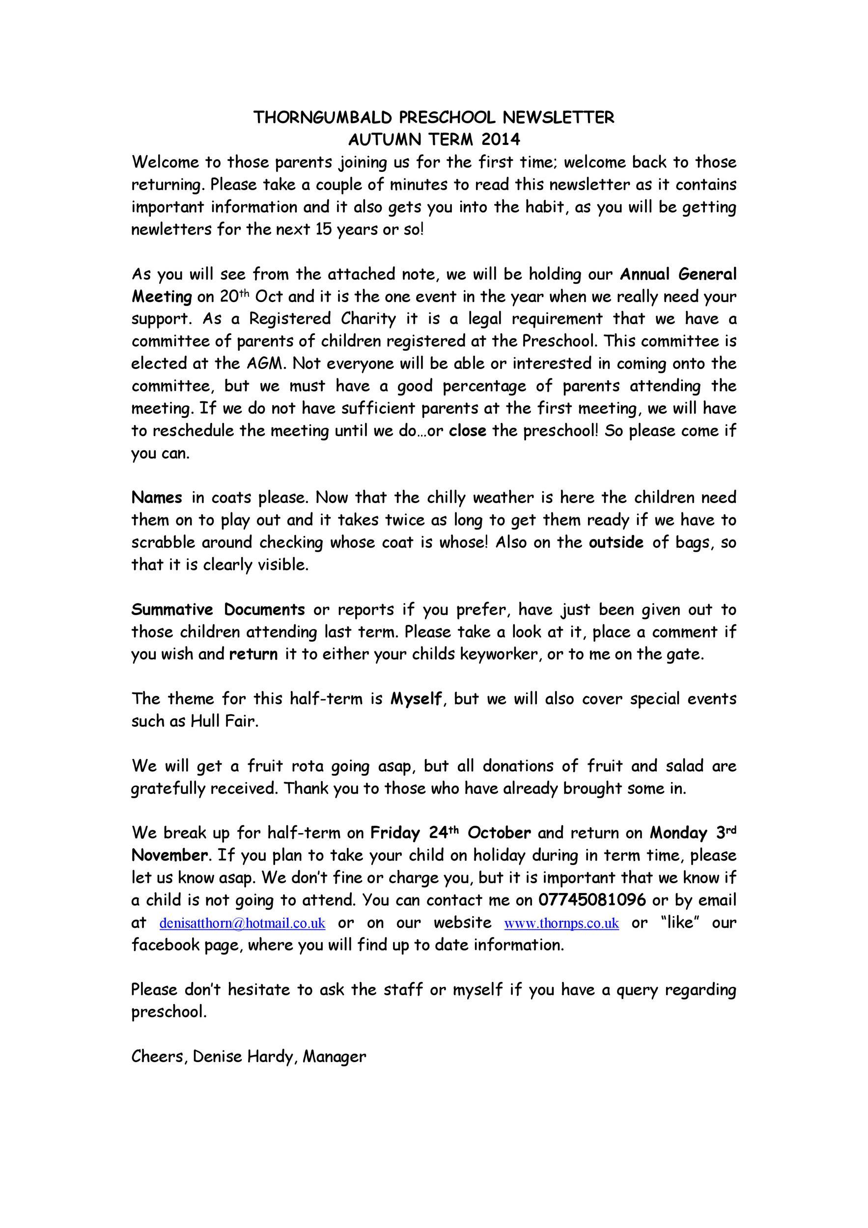 Free preschool newsletter template 47