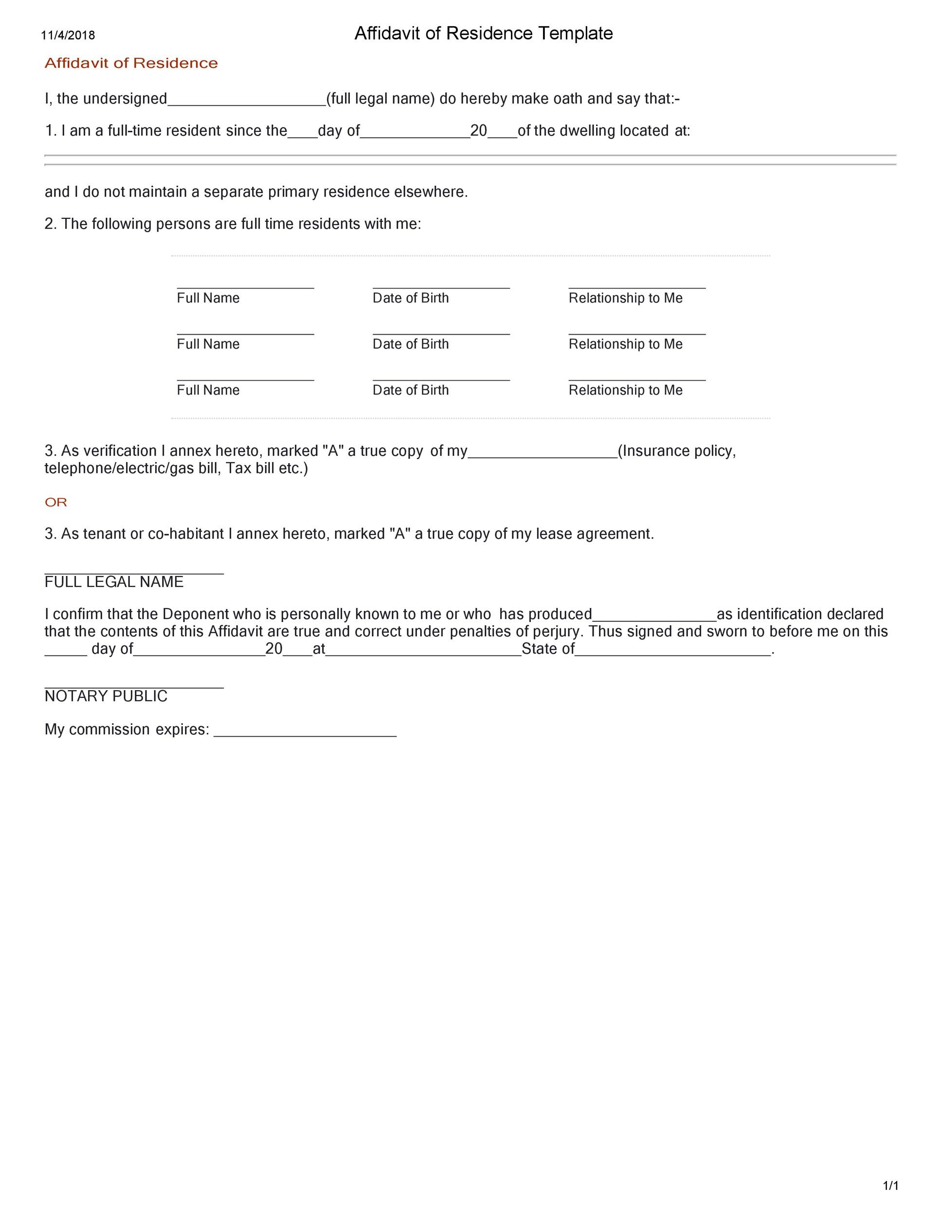 Proof Of Residence Letter Format from templatelab.com
