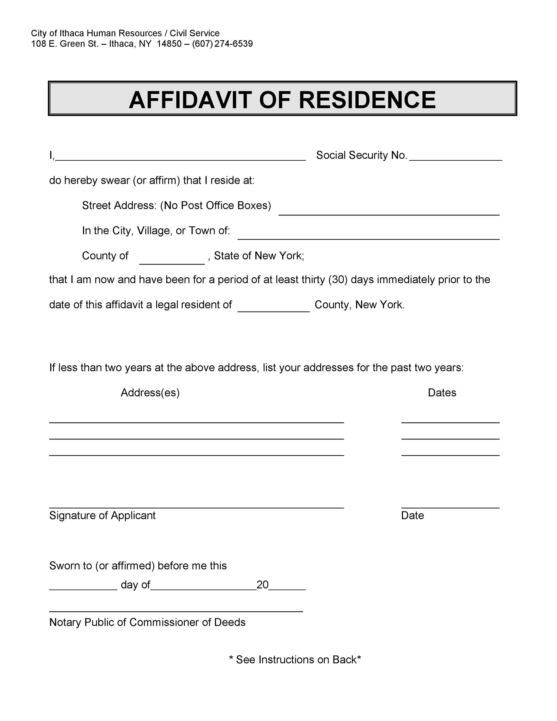 Free proof of residency letter 19
