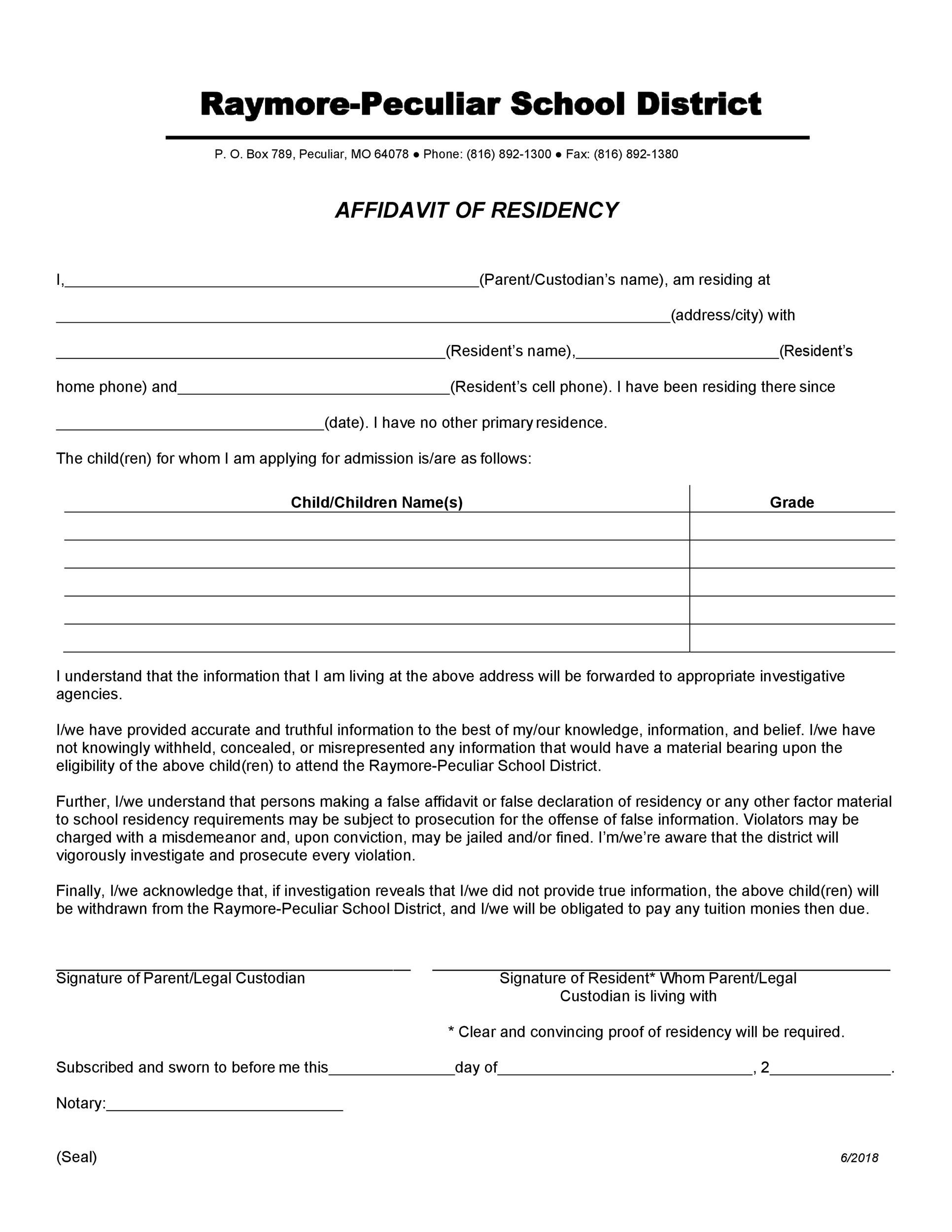 Free proof of residency letter 20