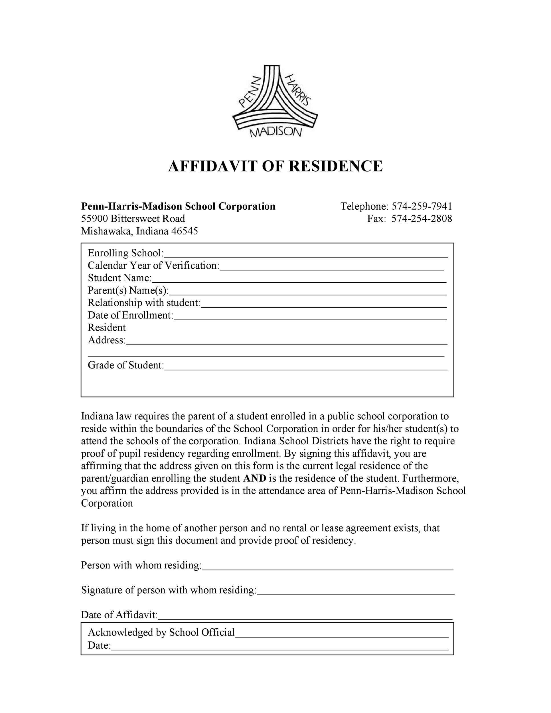 Printable Notarized Letter Of Residency Template from templatelab.com