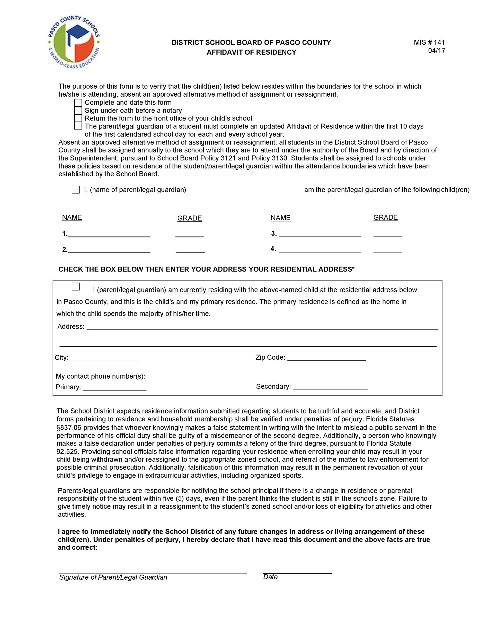 Free proof of residency letter 30