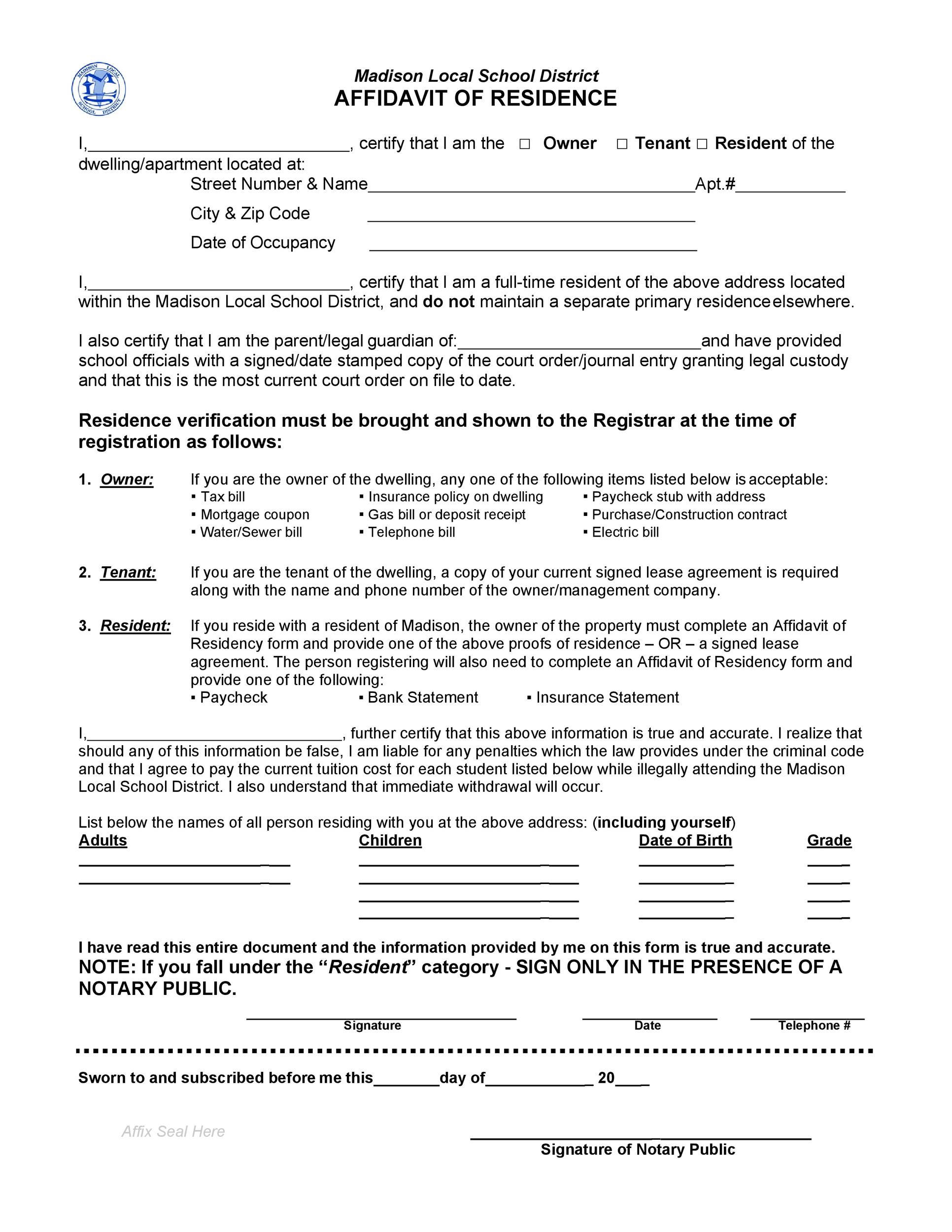 Free proof of residency letter 31