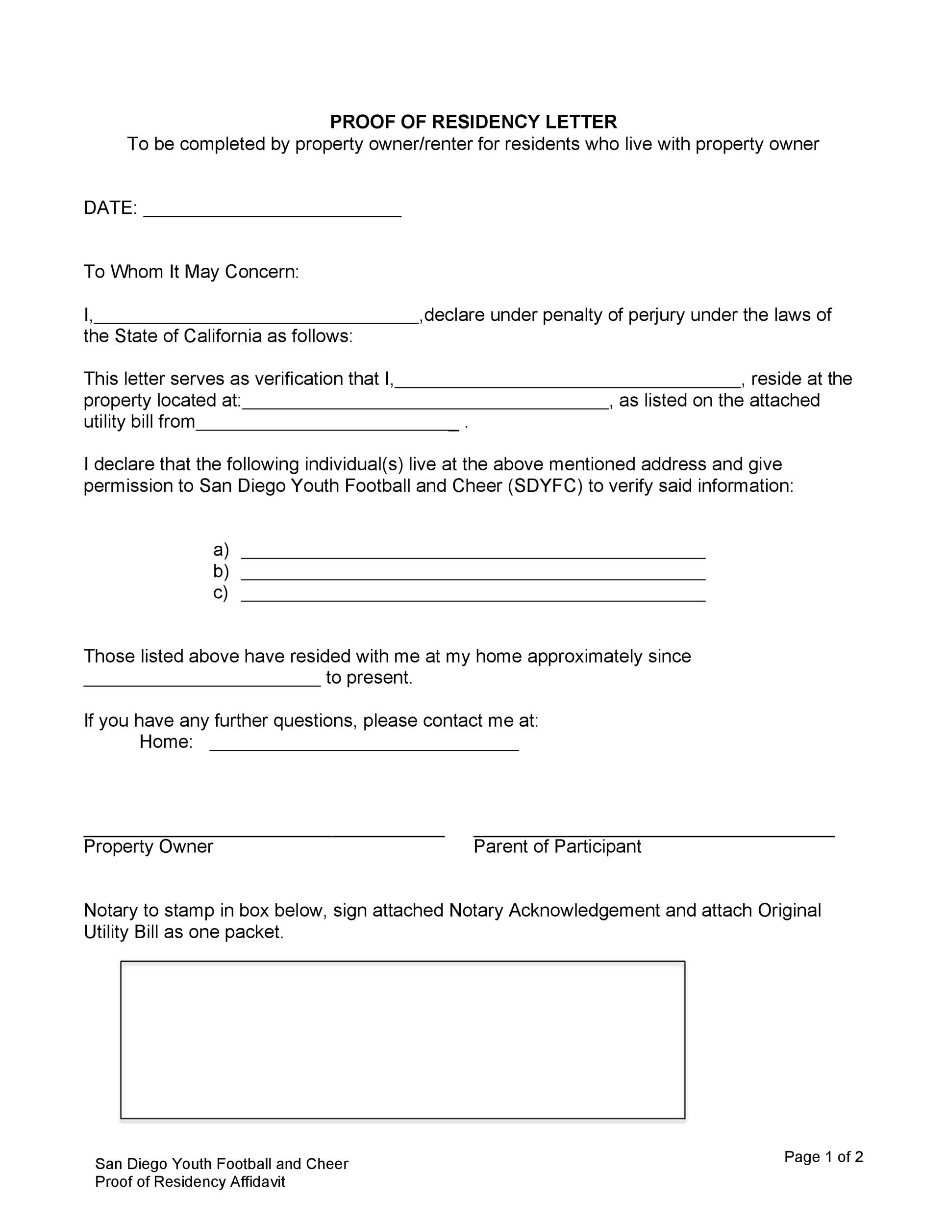 Free proof of residency letter 34