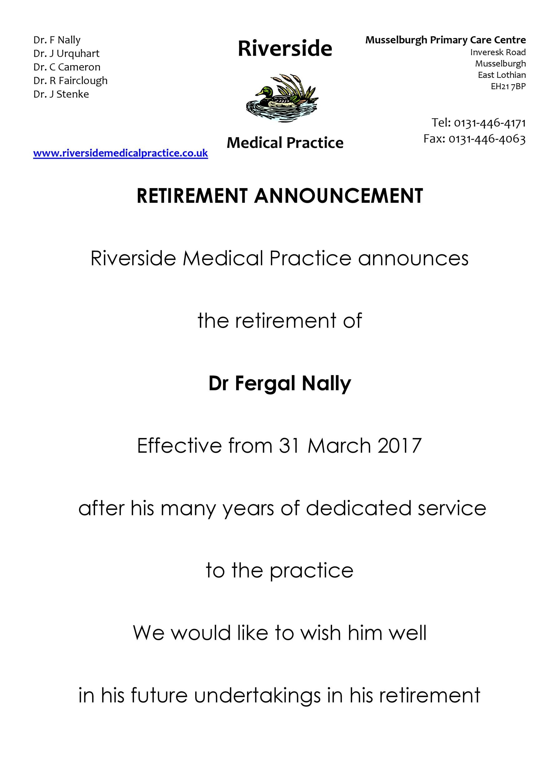 retirement announcement to clients