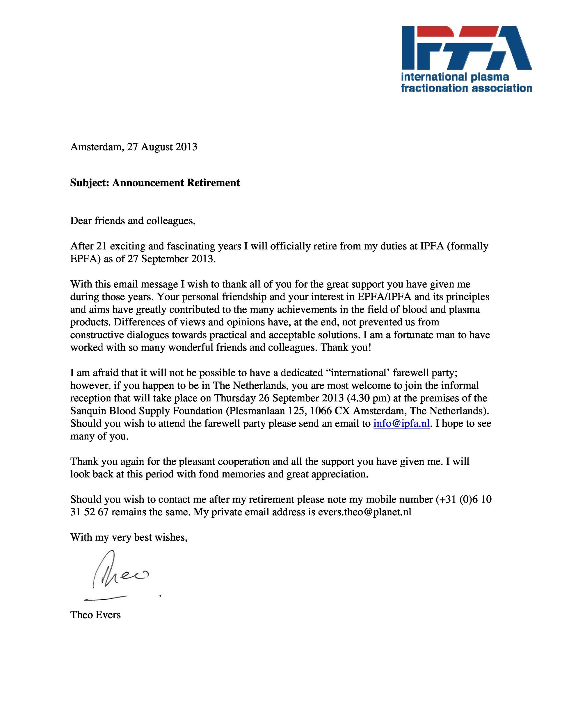 Free retirement announcement template 24