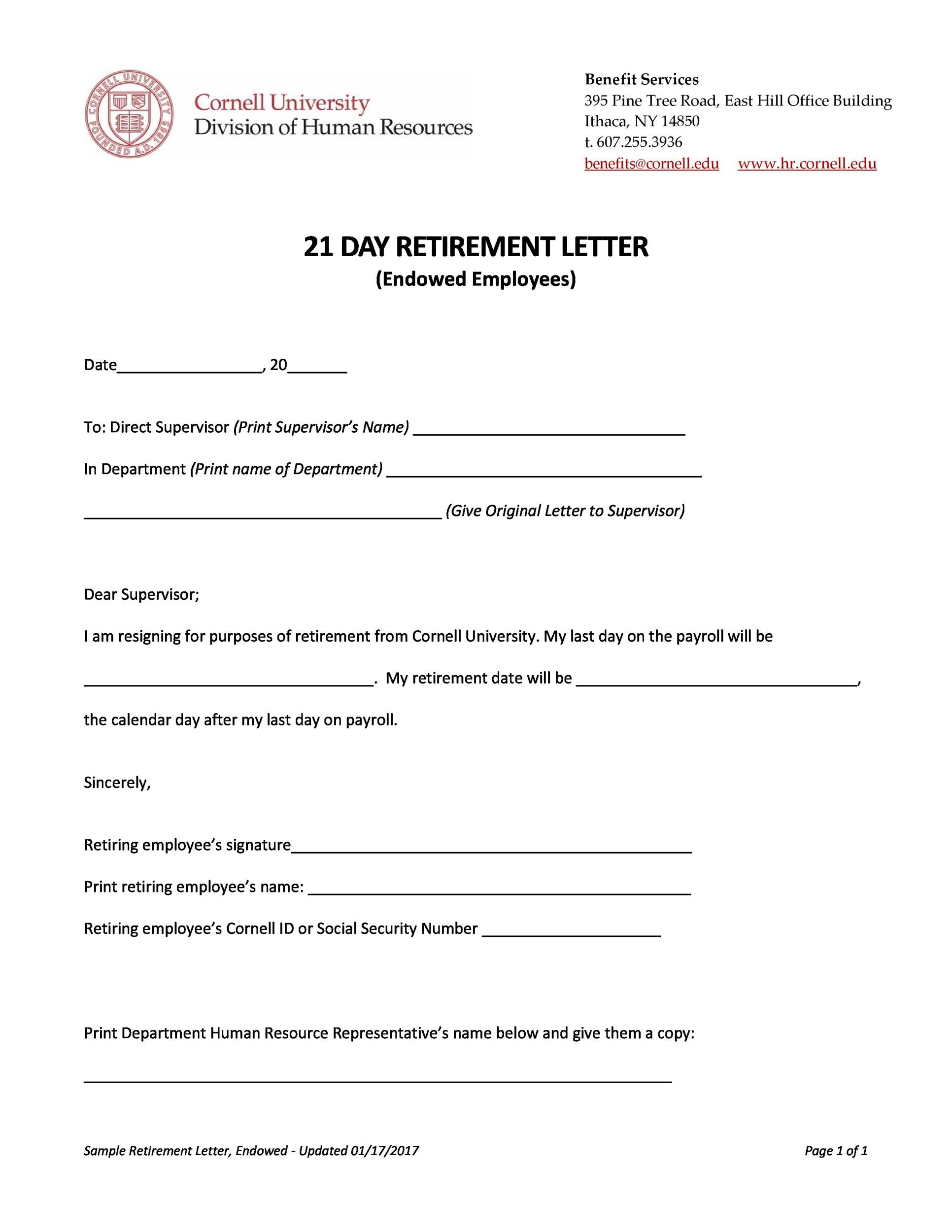 38 Professional Retirement Announcement Letters & Emails ᐅ Template Lab