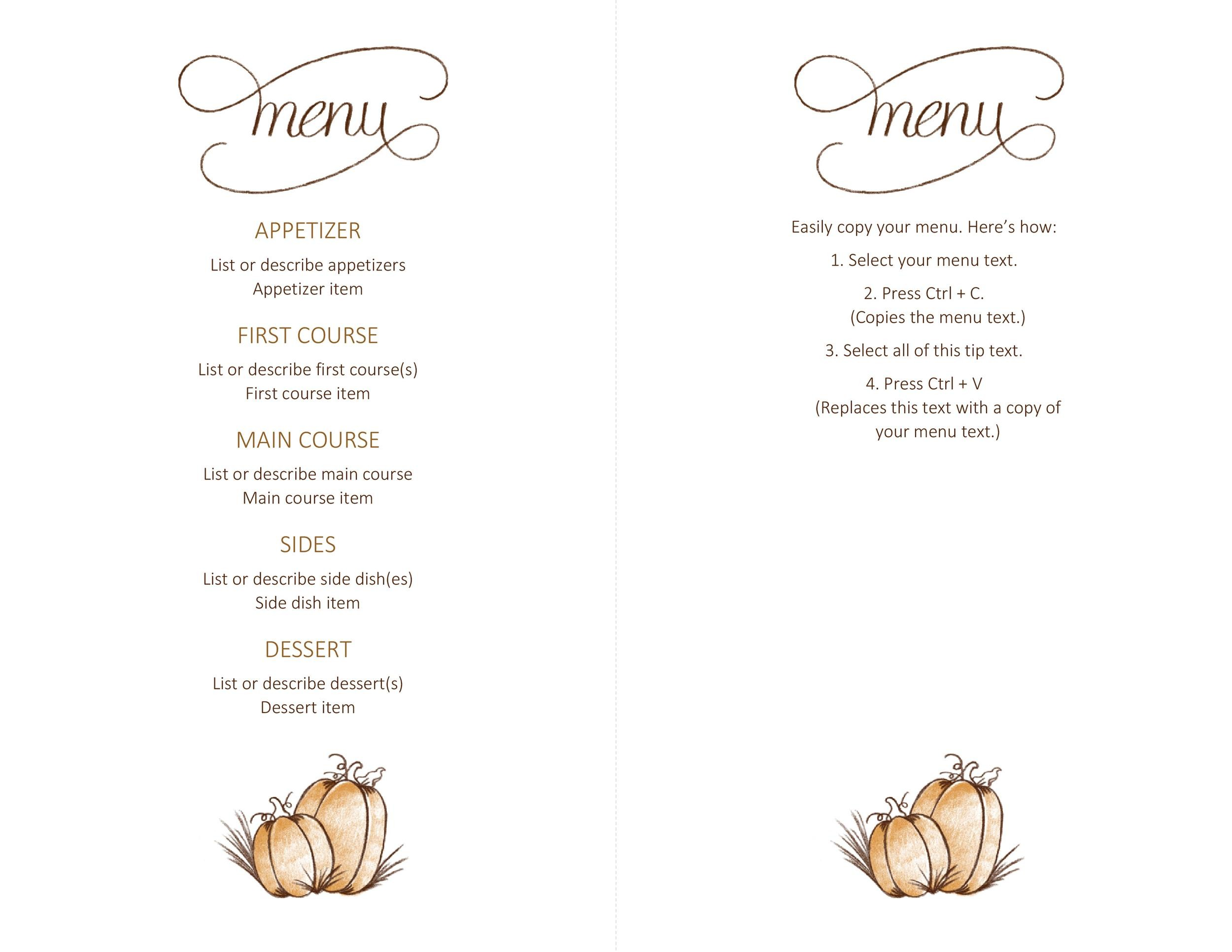 Free thanksgiving menu template 01