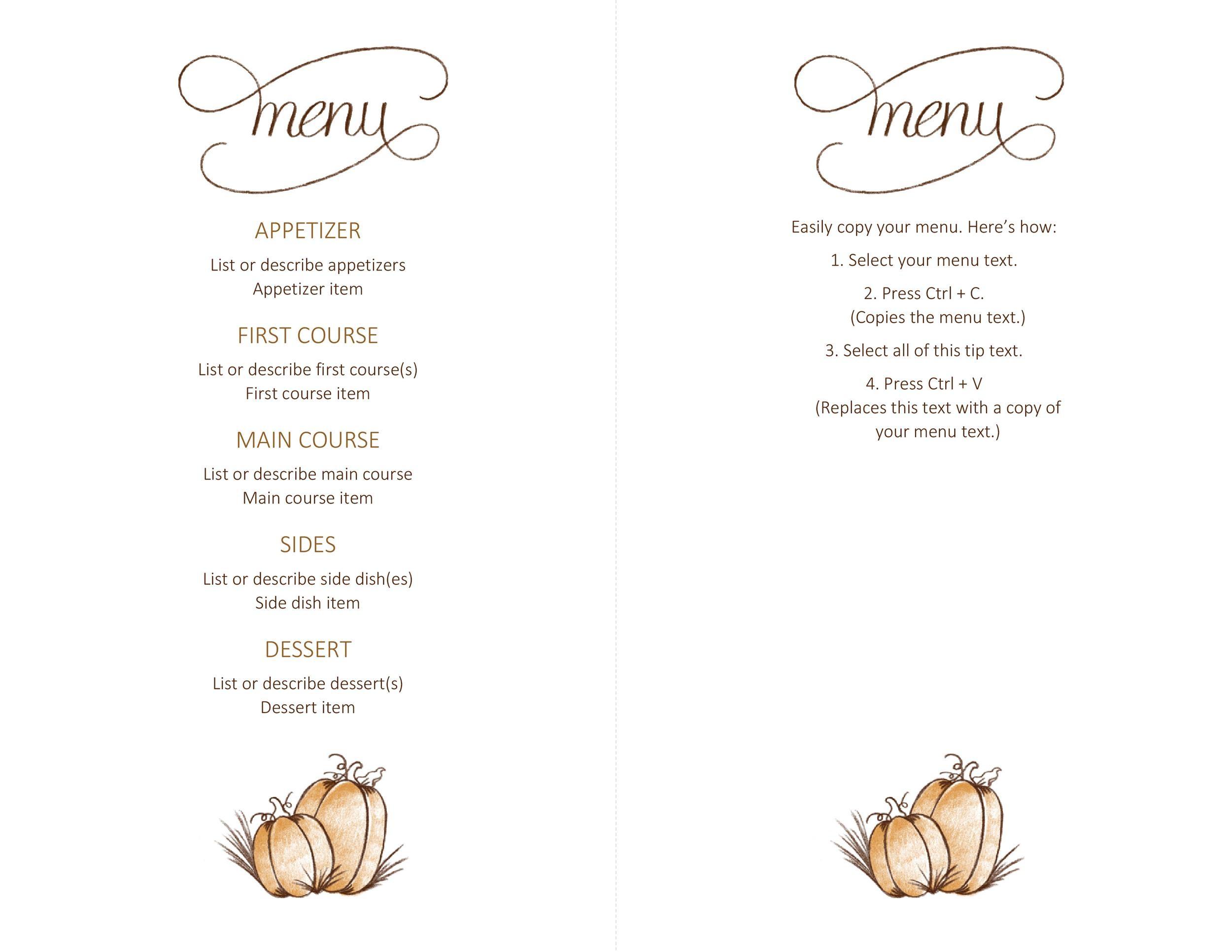 Free thanksgiving menu template 01