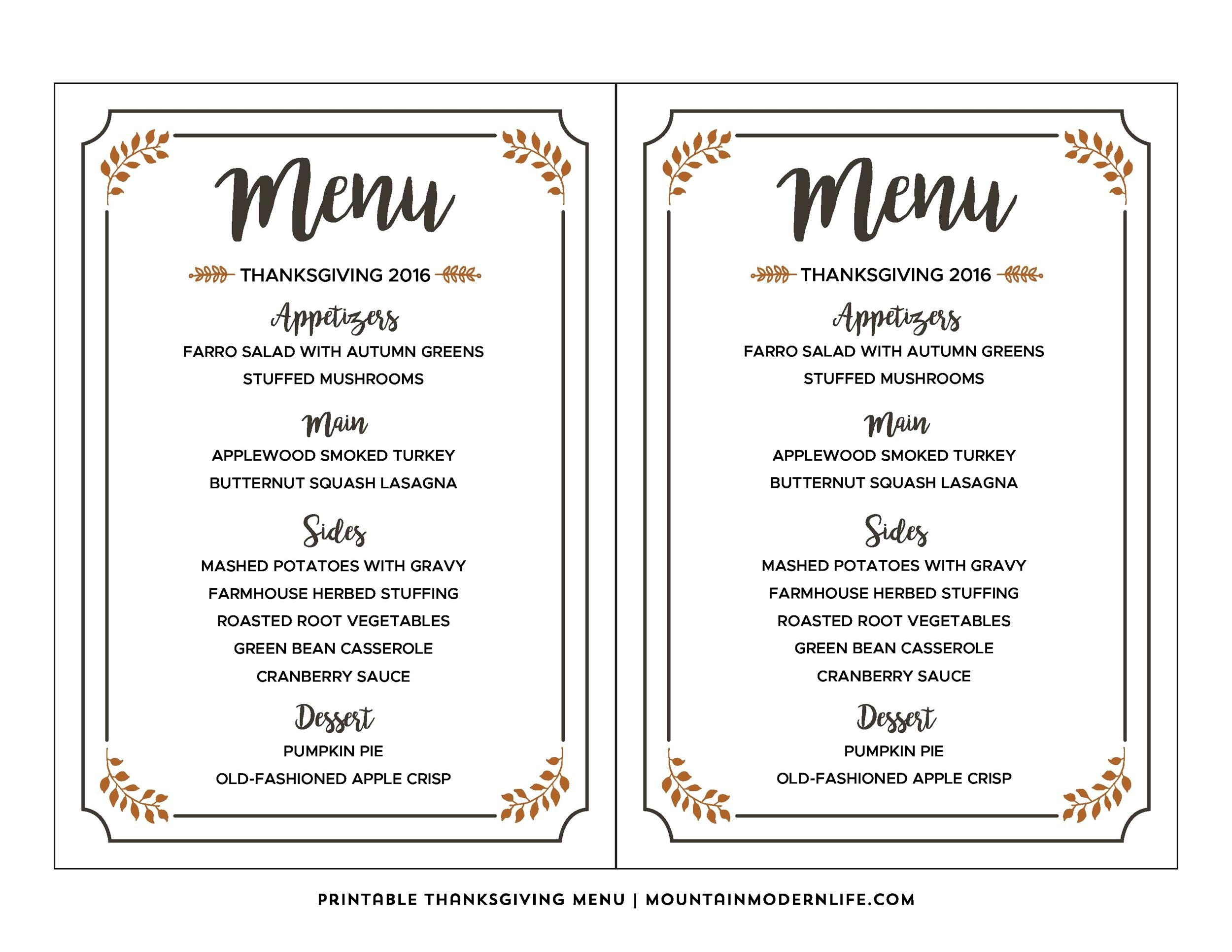 Free thanksgiving menu template 02