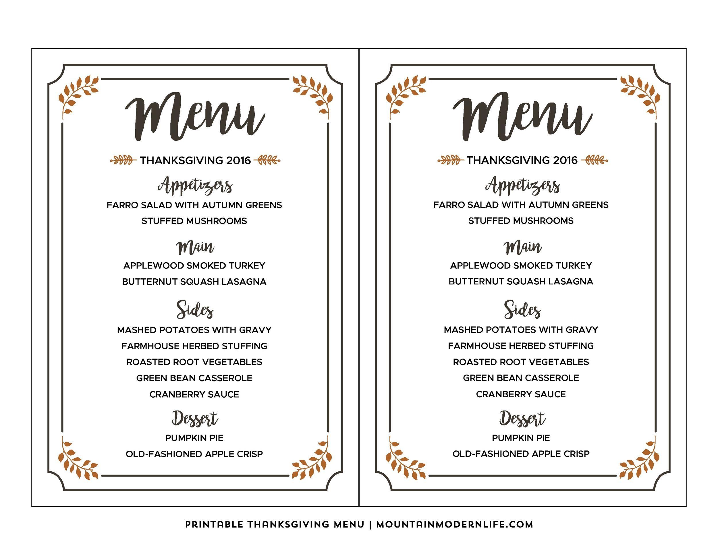 Free thanksgiving menu template 02