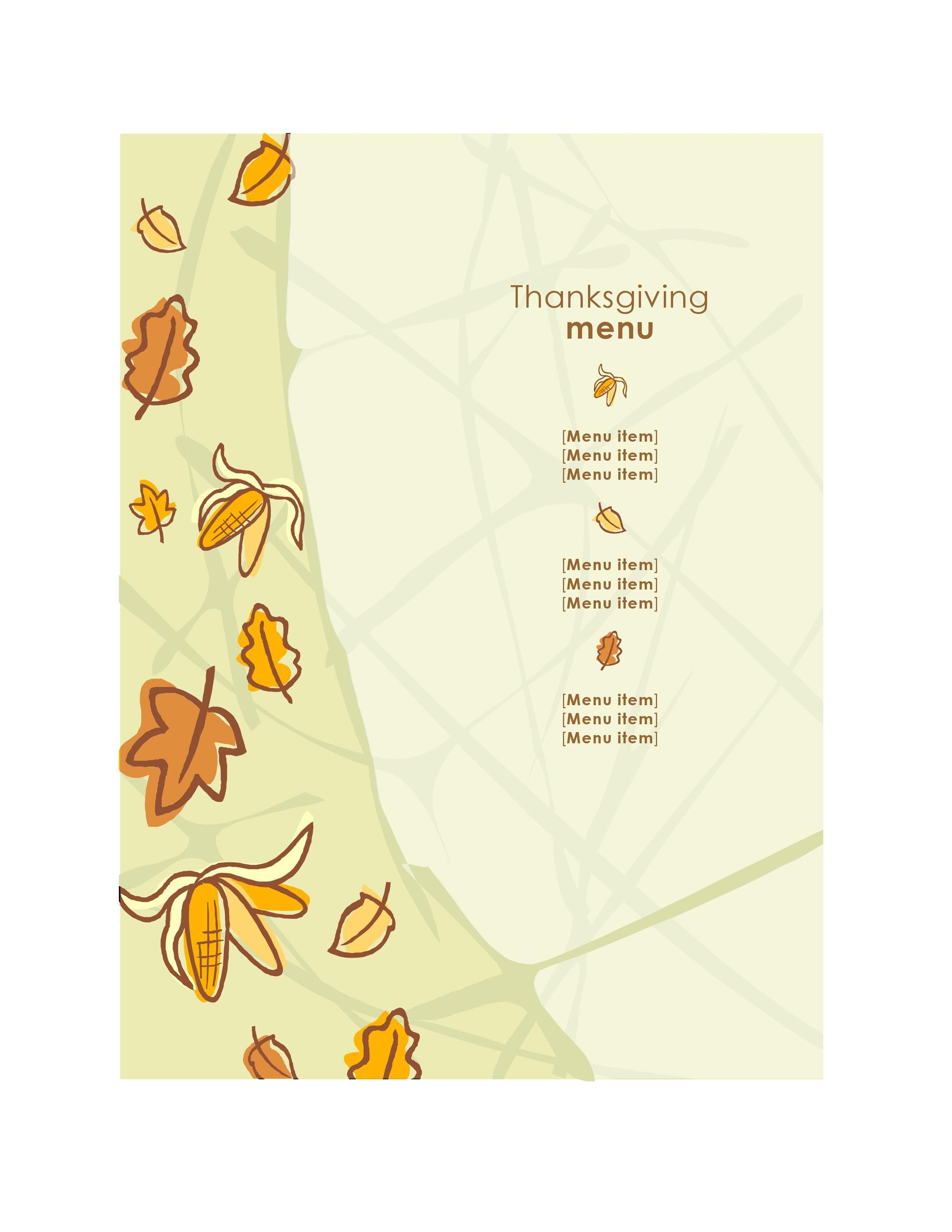 Free thanksgiving menu template 03