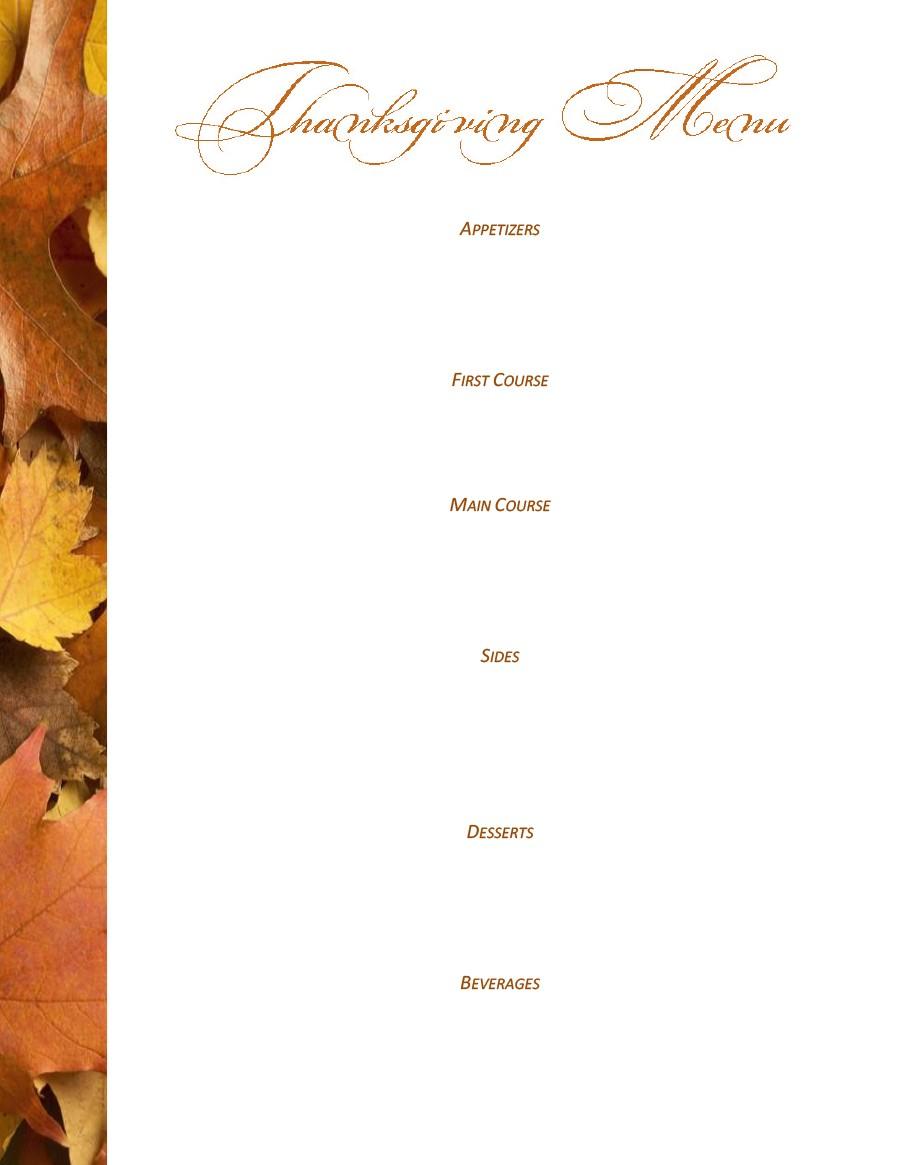 Free thanksgiving menu template 08