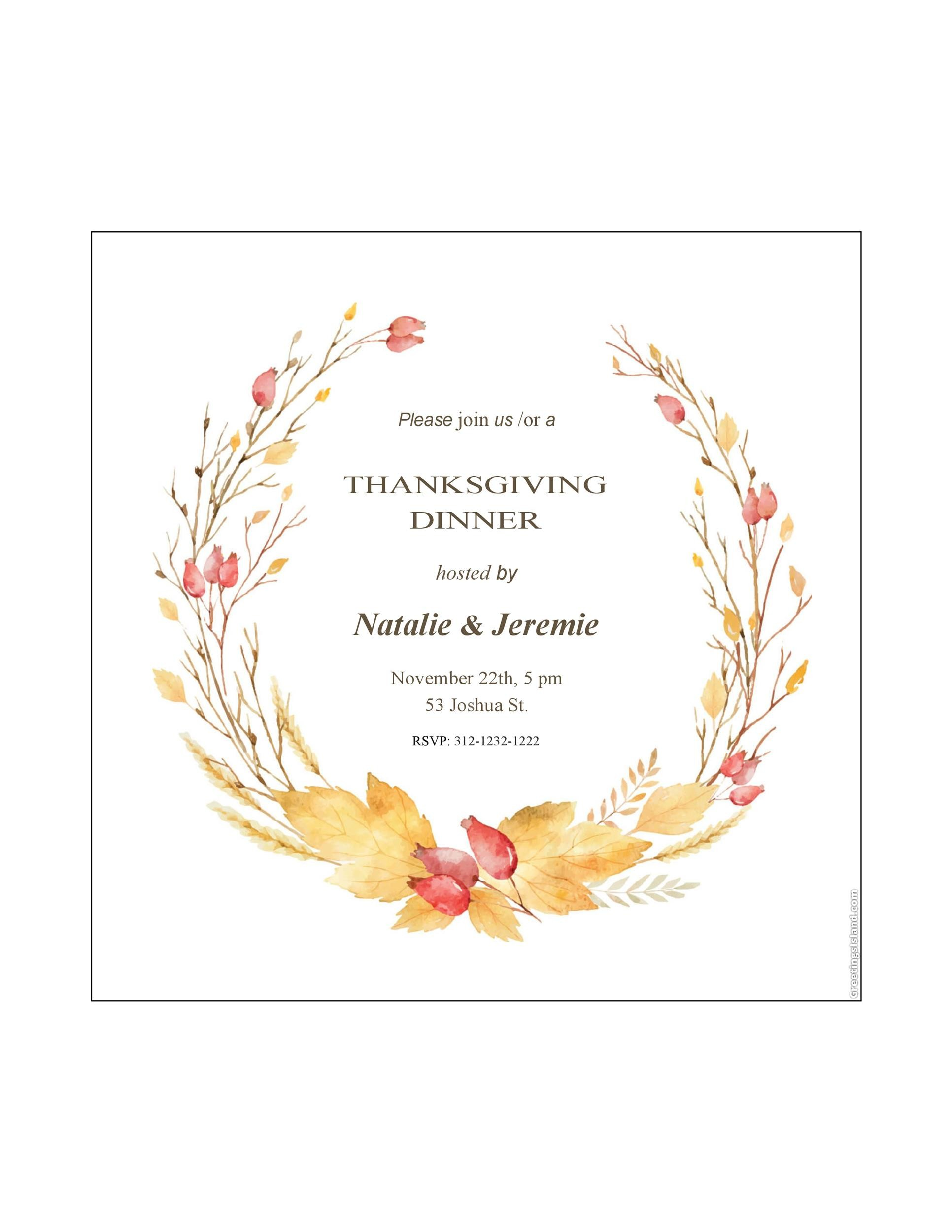 Free thanksgiving menu template 12