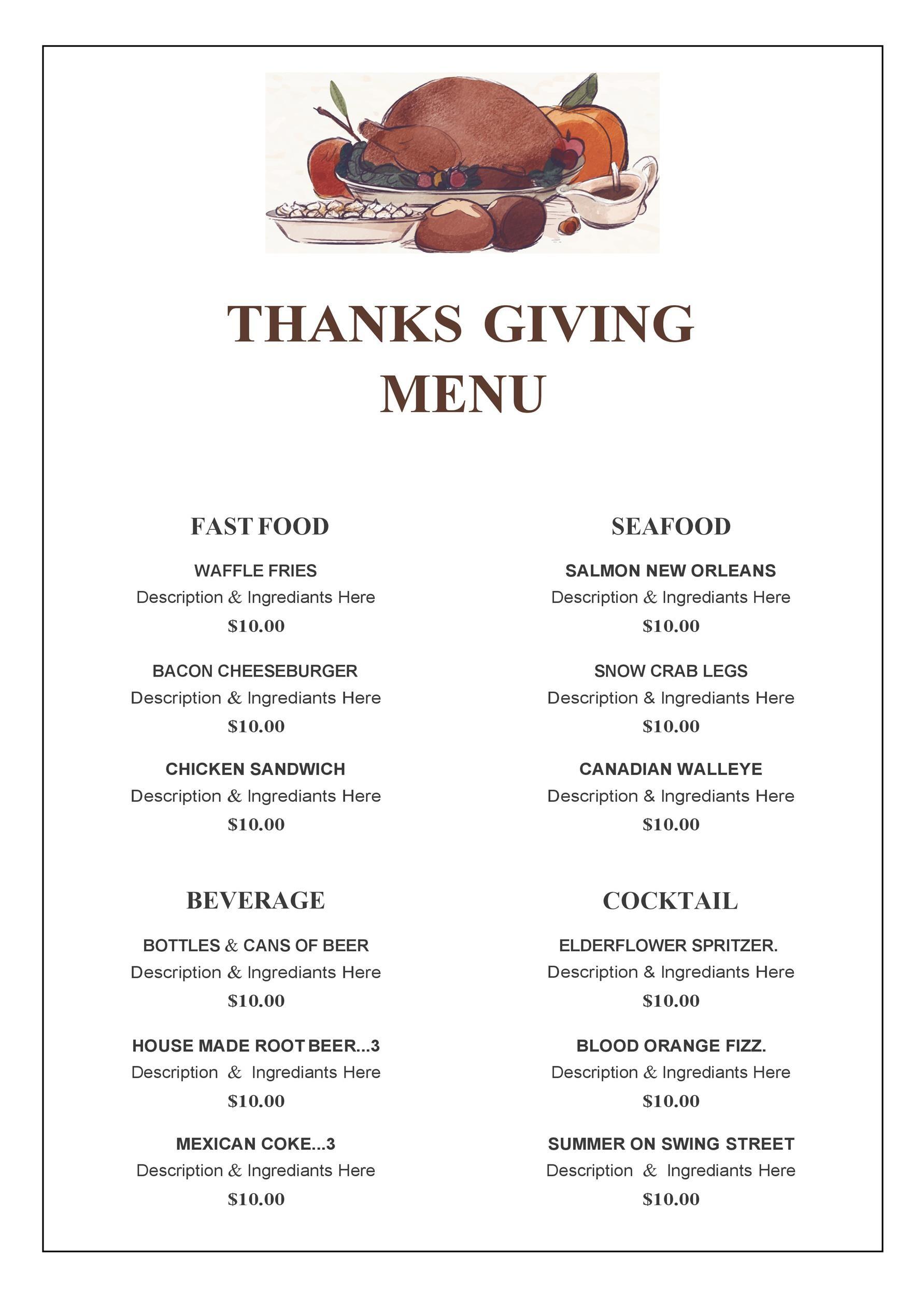 Free thanksgiving menu template 15