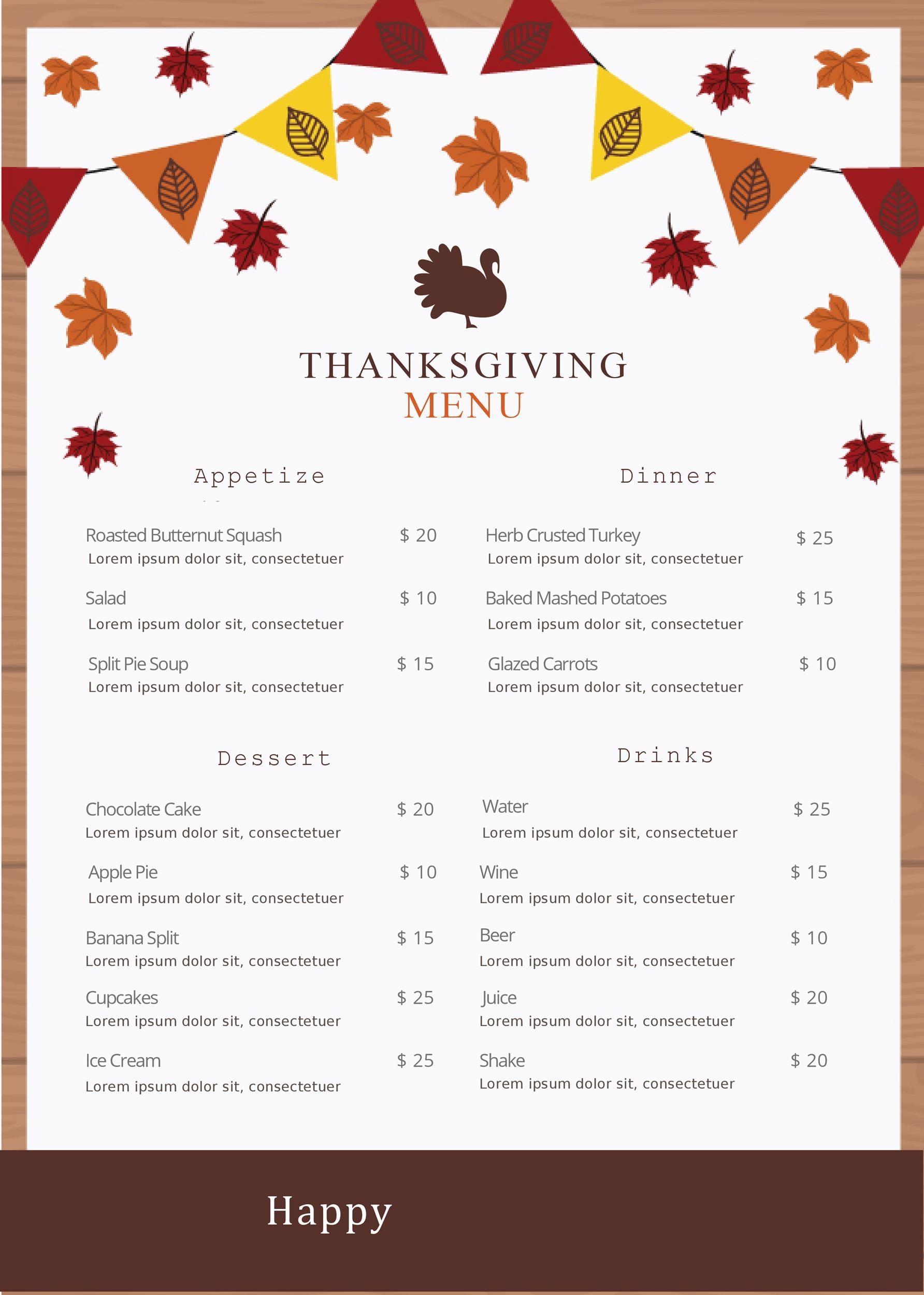 Free thanksgiving menu template 16