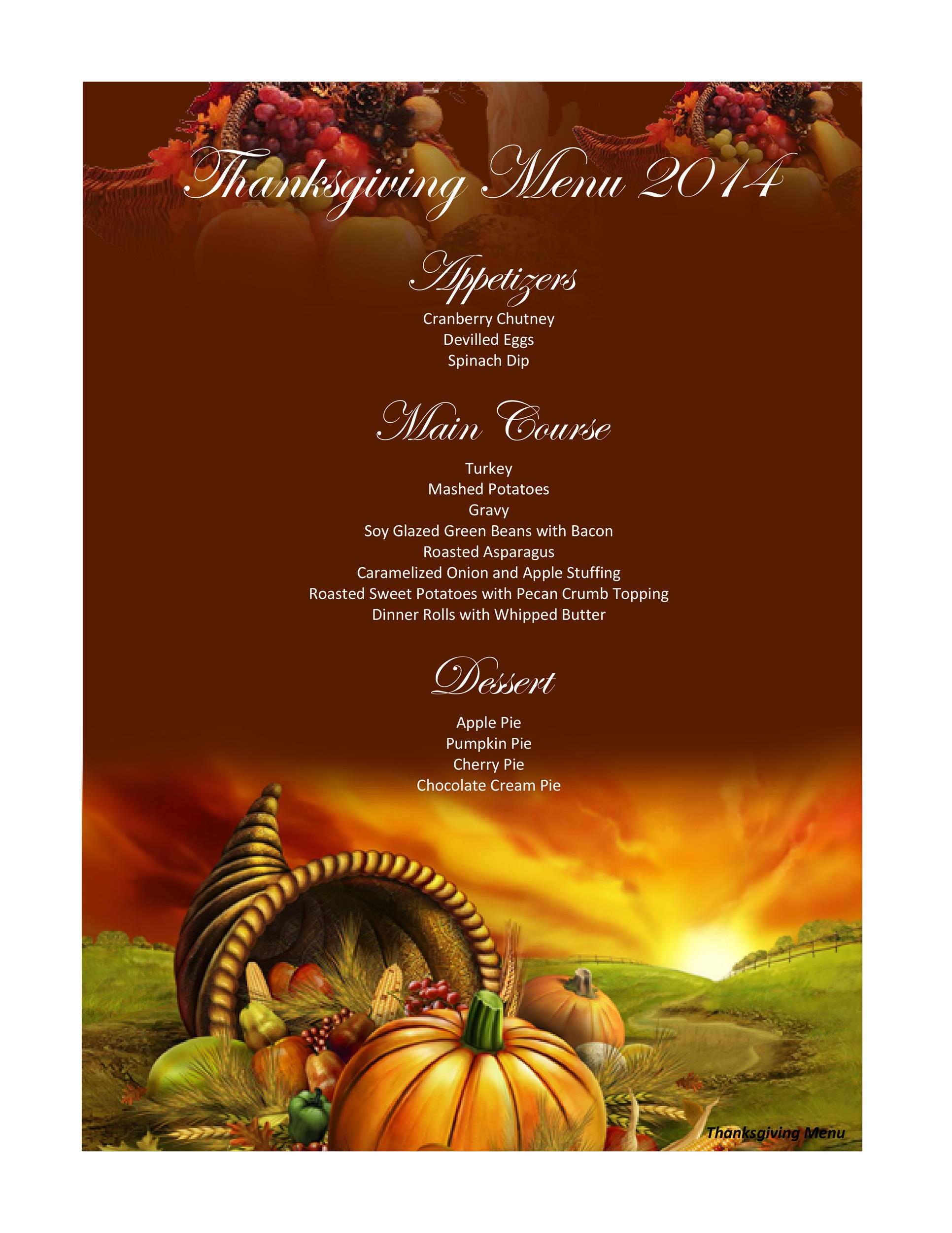 Thanksgiving Menu Templates