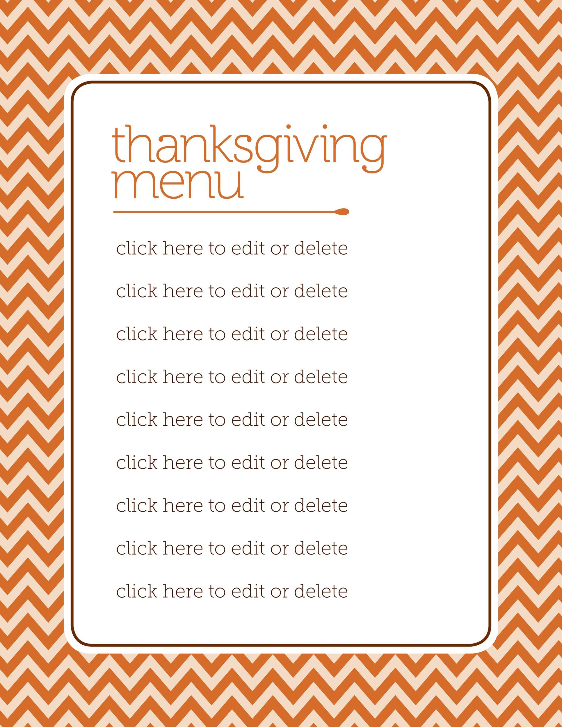 Free thanksgiving menu template 22